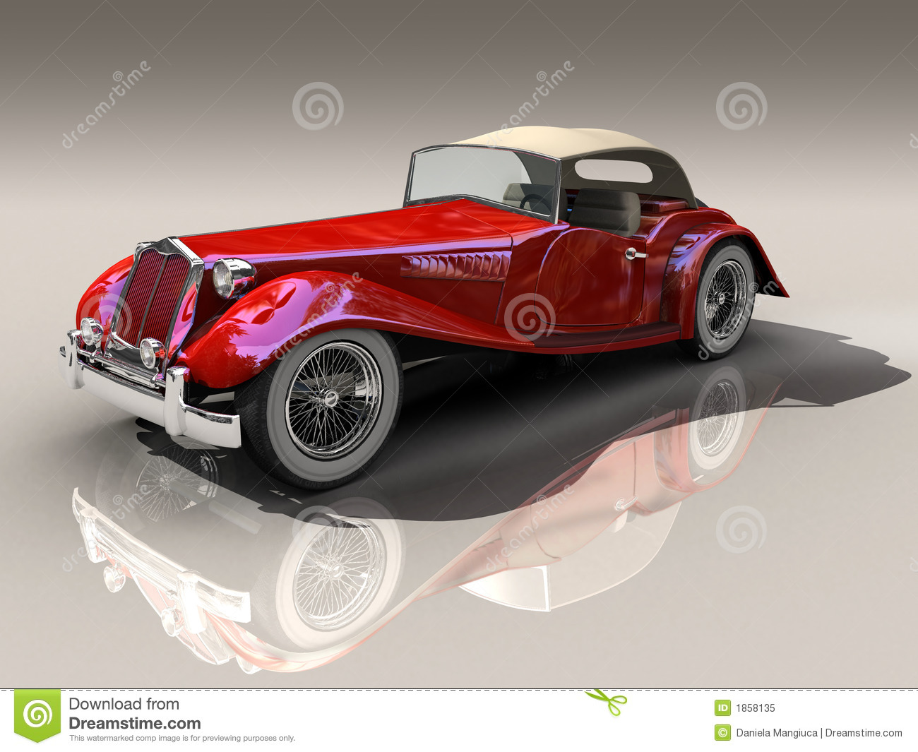 Vintage Red Sports Car 3D Model Stock Illustration - Image: 1985841
