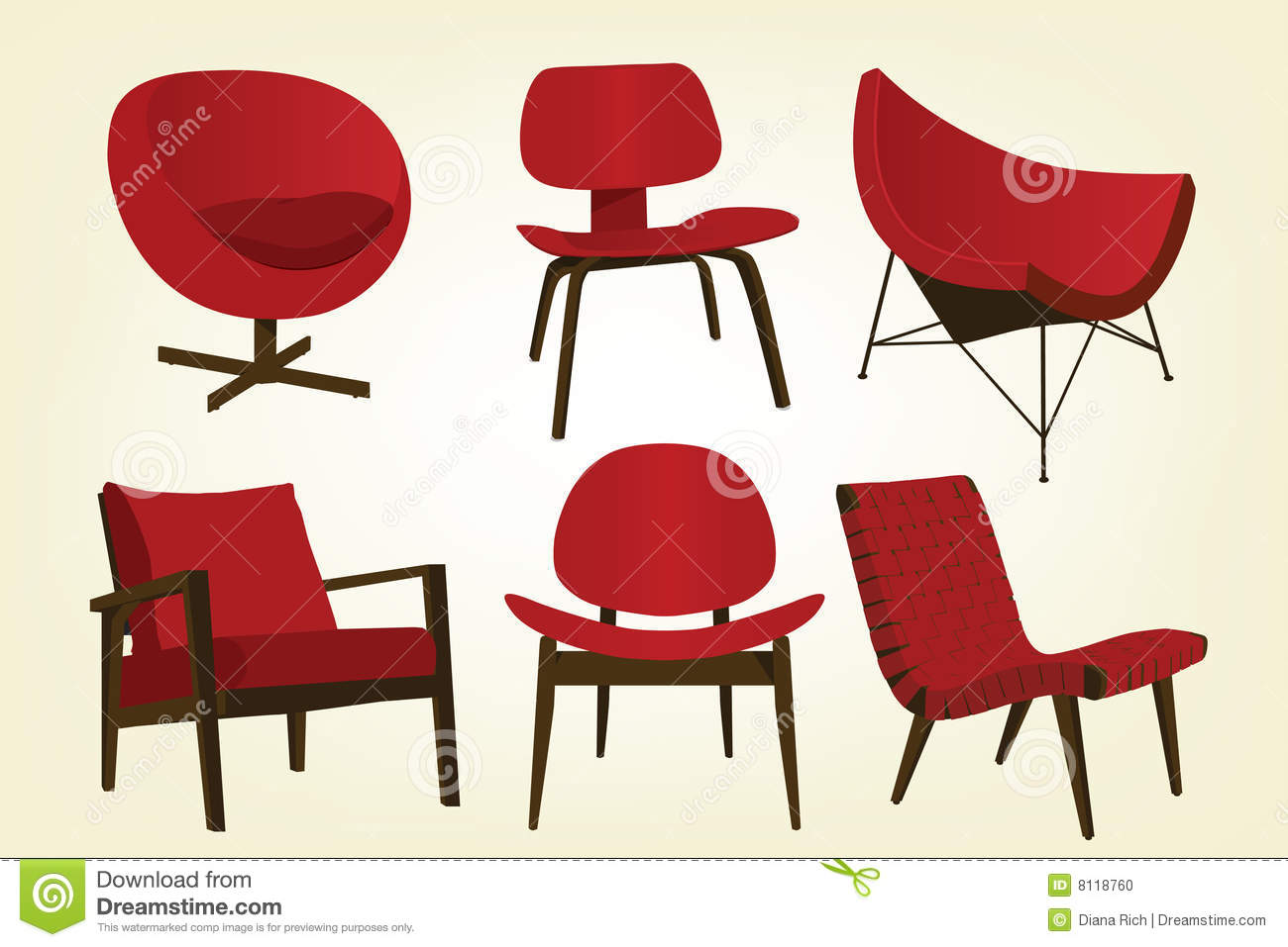 Superieur Vintage Red Chair Icons