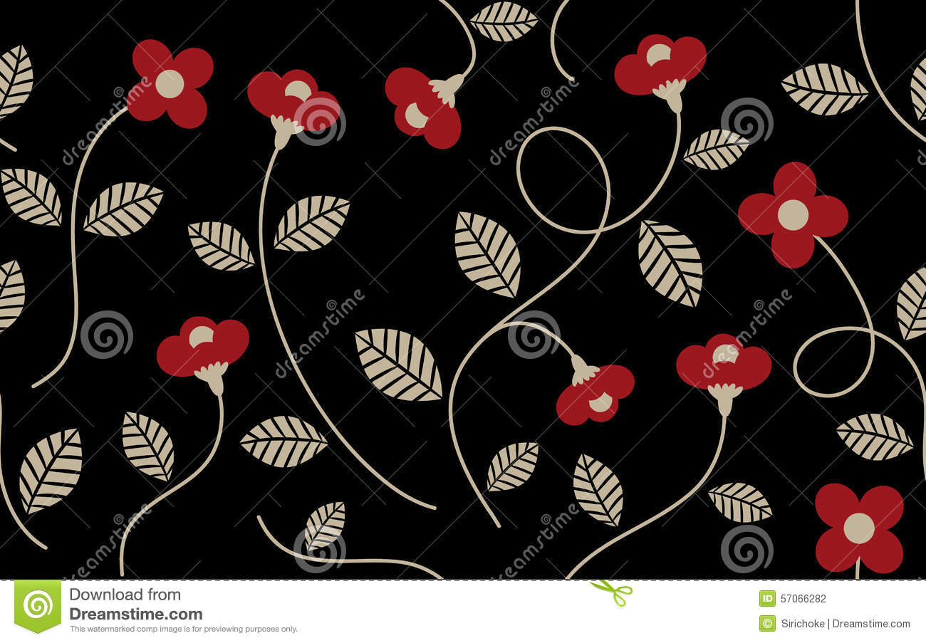 Vintage Red Flower And Leaves Pattern Stock Vector