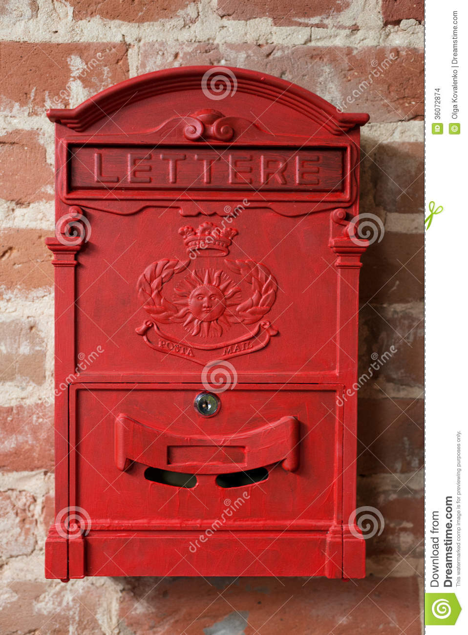 vintage red metal mail box stock photo image of letterbox 36072874. Black Bedroom Furniture Sets. Home Design Ideas