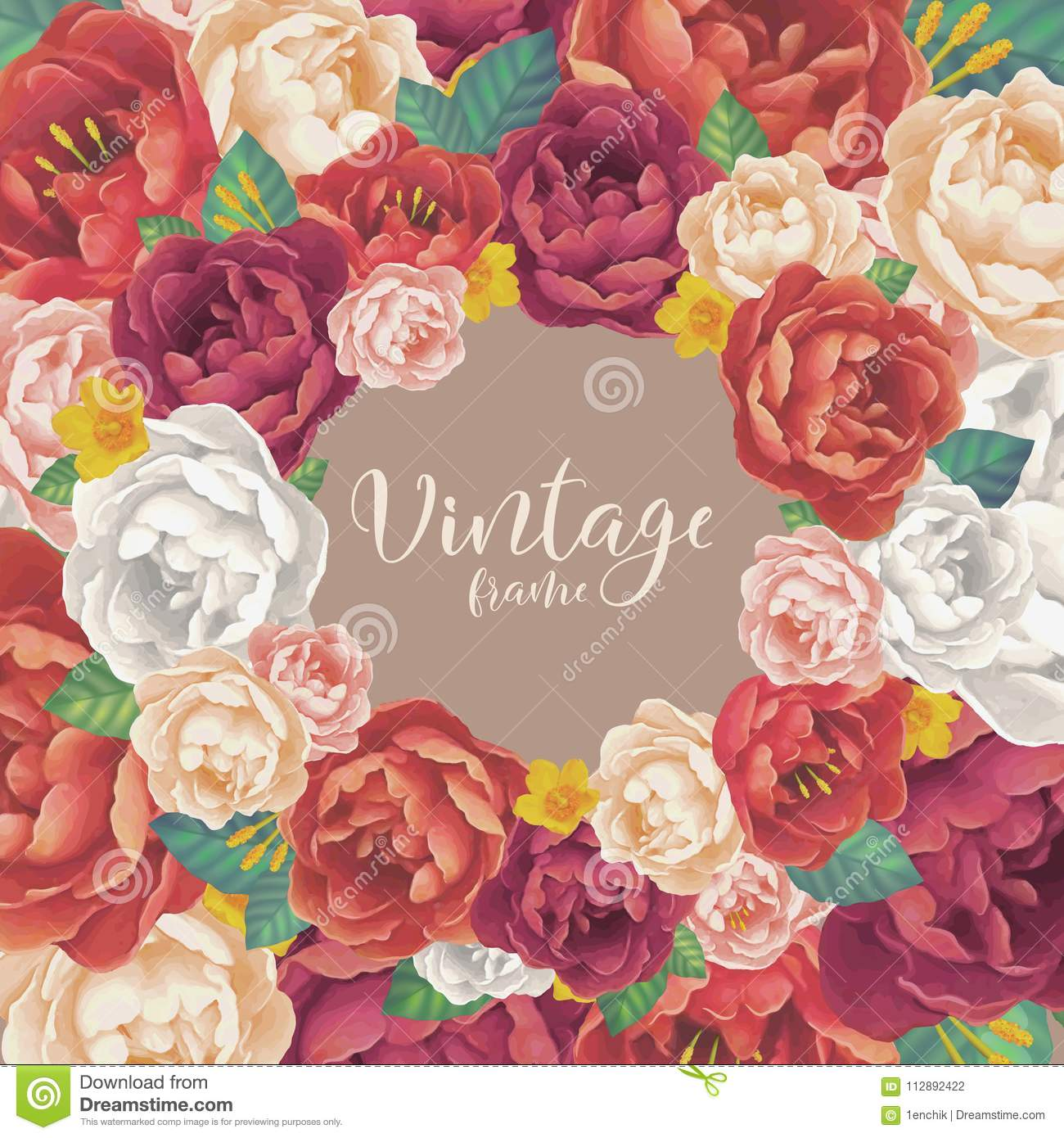 Vintage Red, Pink And Purple Colors Peonies And Roses Vector Card ...