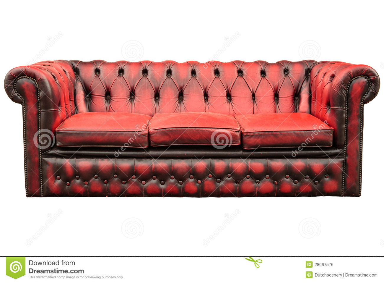 Vintage Red Sofa Isolated On White Royalty Free Stock