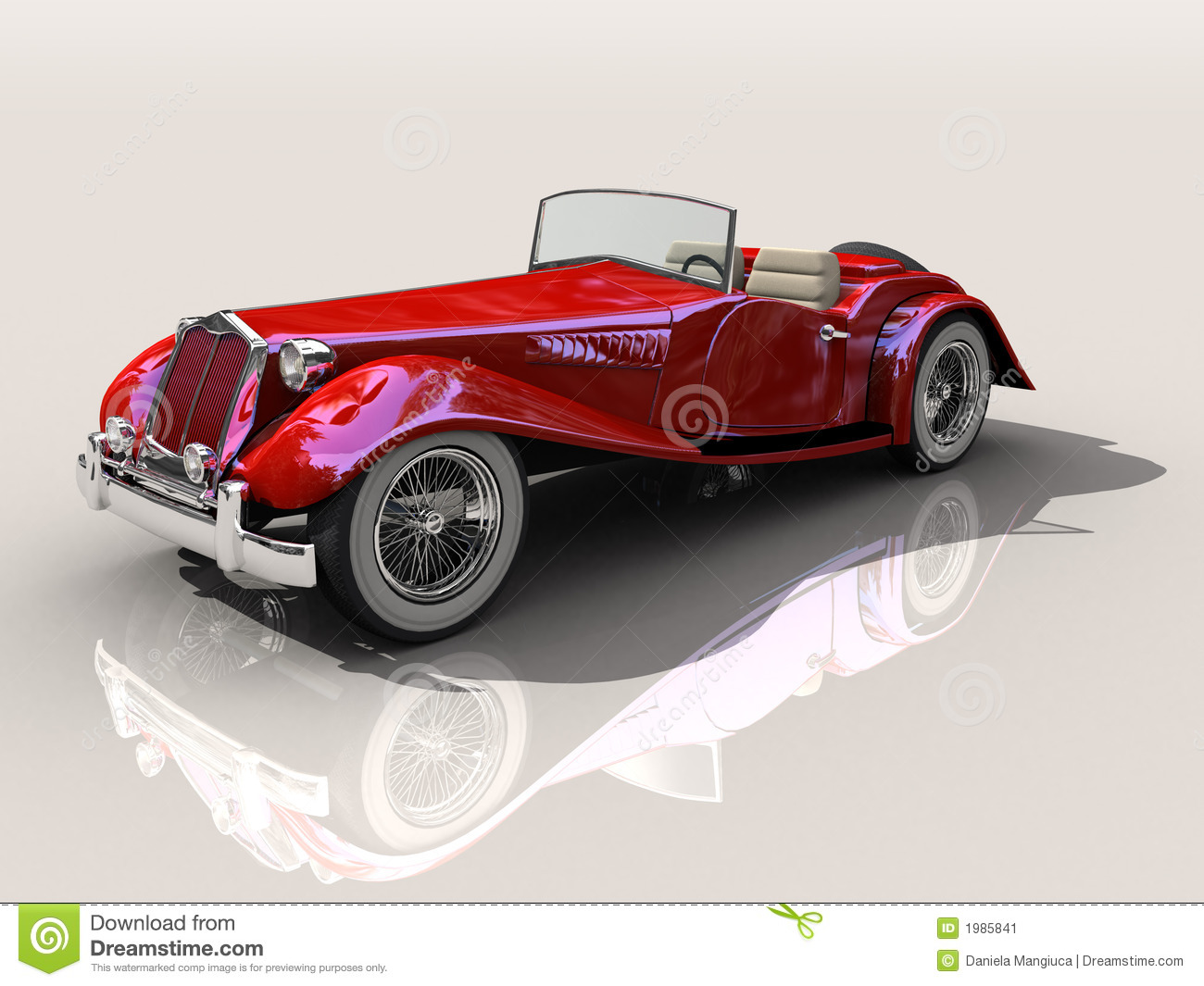 Vintage red sports car  Shiny old Hot Rod 3D model on reflective