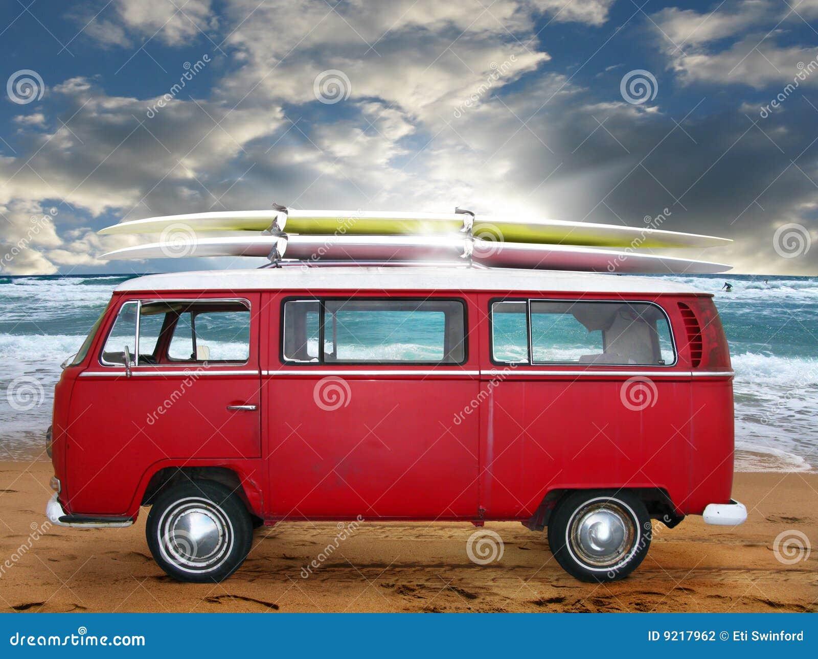 Vw Bug Camper >> Vintage red van stock photo. Image of volkswagen, antique - 9217962