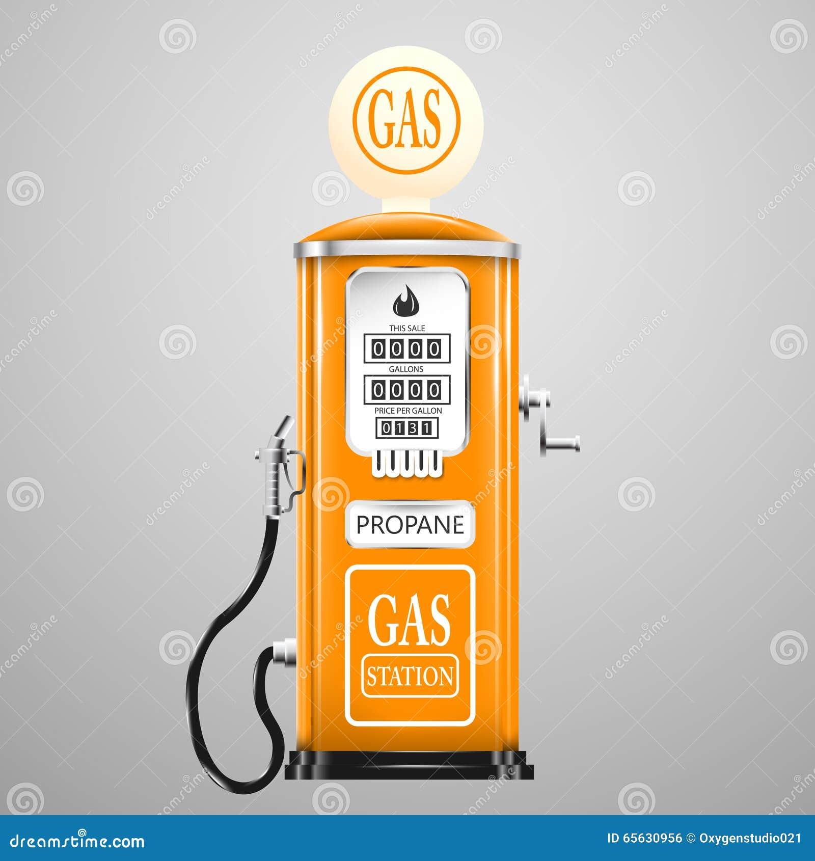 Vintage regardant la pompe à gaz