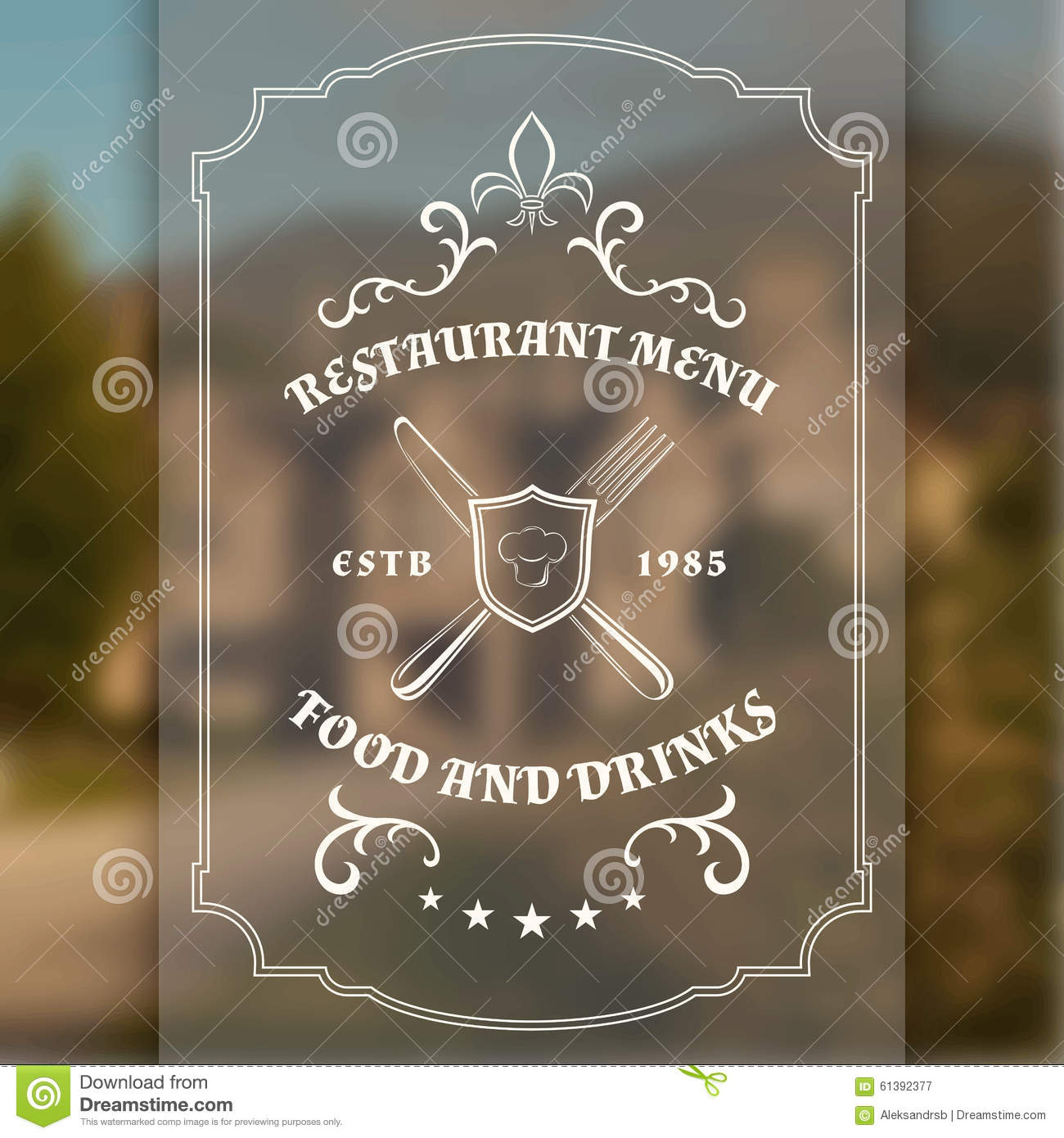 Vintage restaurant sign template stock vector   image: 55999215
