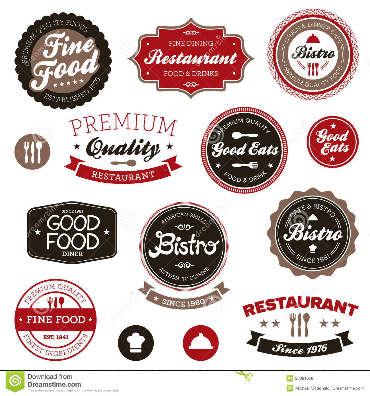 Collection Of Badges For A Restaurant: Vintage Restaurant Labels Royalty Free Stock Photos