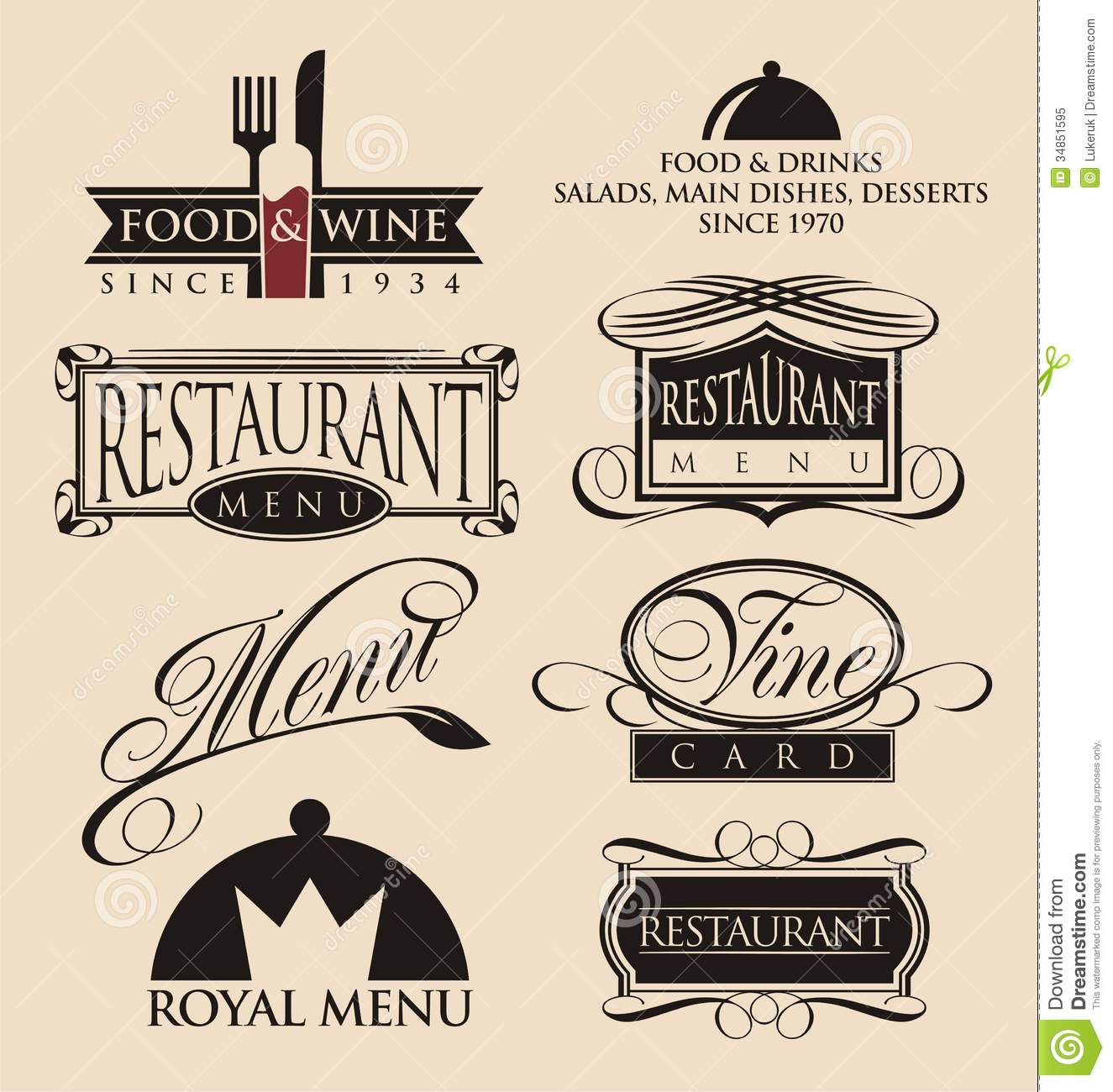 Vintage Restaurant Logos Collection Stock Vector Image