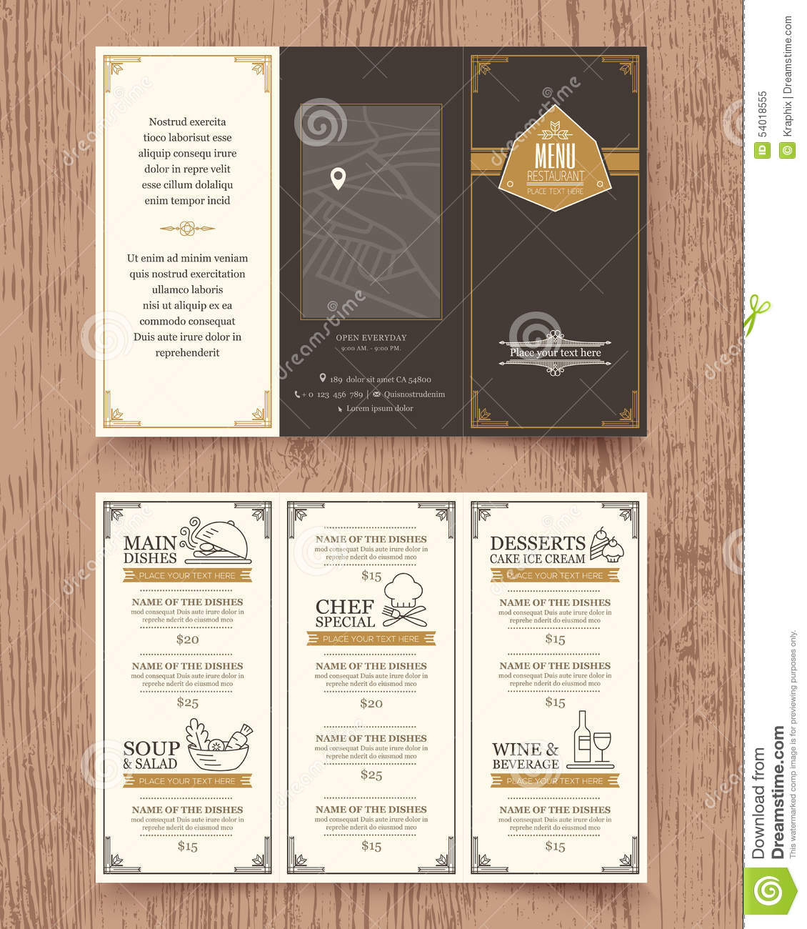 vintage restaurant menu design pamphlet template vector size tri fold 54018555 Top Result 60 Inspirational 3 Fold Menu Template