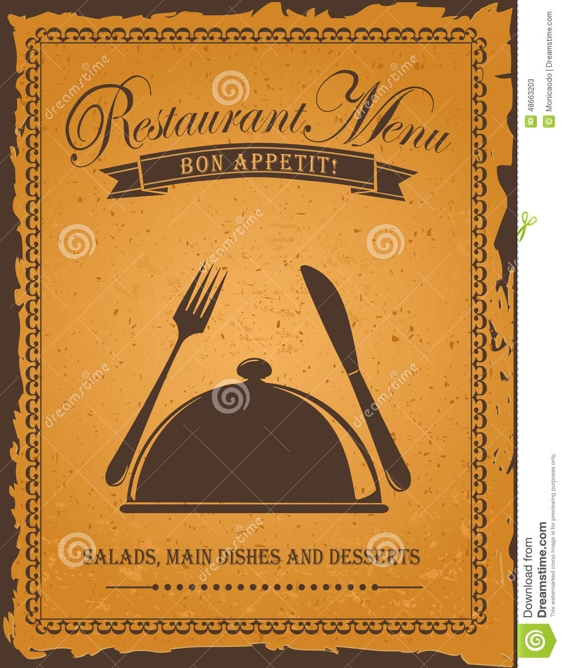 Old Book Cover Posters : Vintage restaurant menu stock vector illustration of