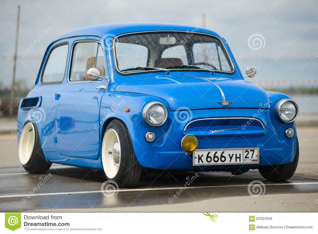 Russia, Kyabarovsk - May 17, 2015 : Vintage restored and tuned blue ZAZ-965  Zaporozhets car . released circa 1960 in USSR