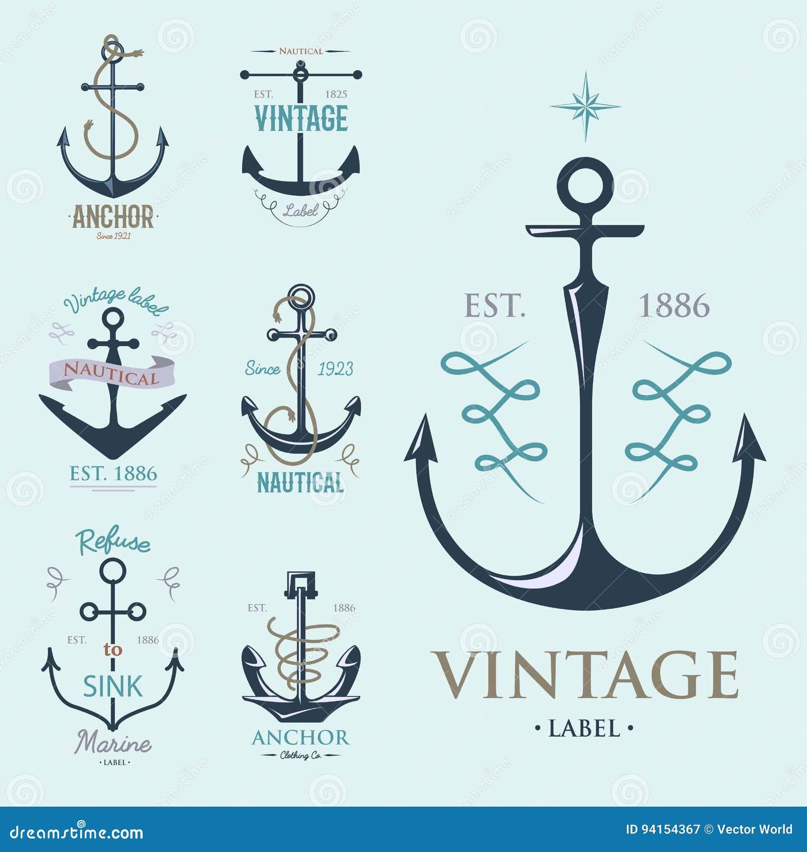 Vintage Retro Anchor Badge Vector Sign Sea Ocean Graphic ...