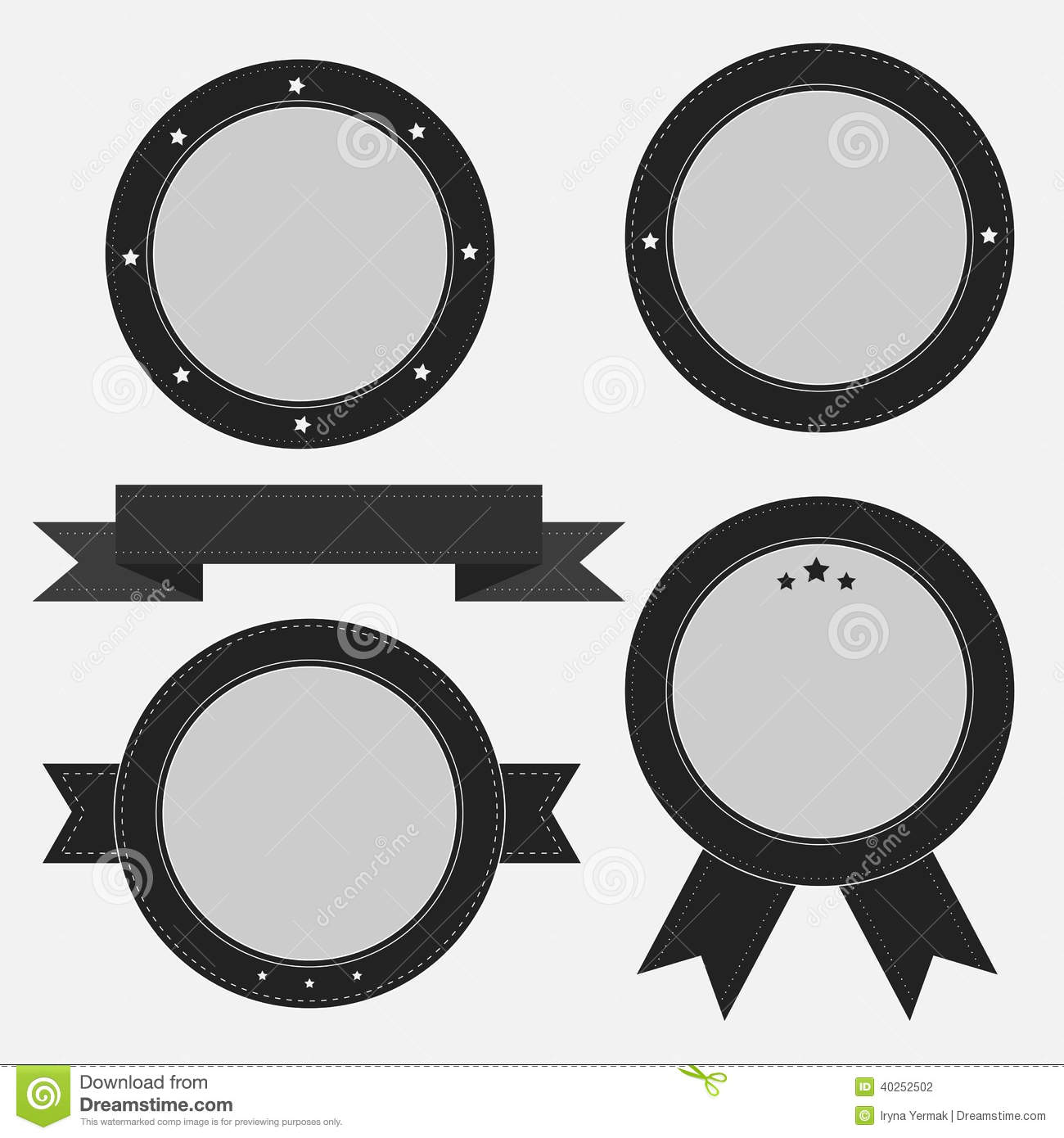 ... label set with ribbon and stars. Empty templates. Vector illustration