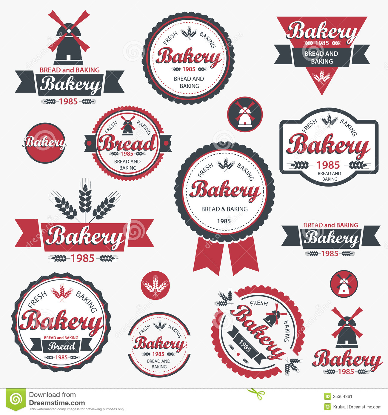 Vintage Retro Bakery Badges And Labels. Stock Image - Image: 25364861