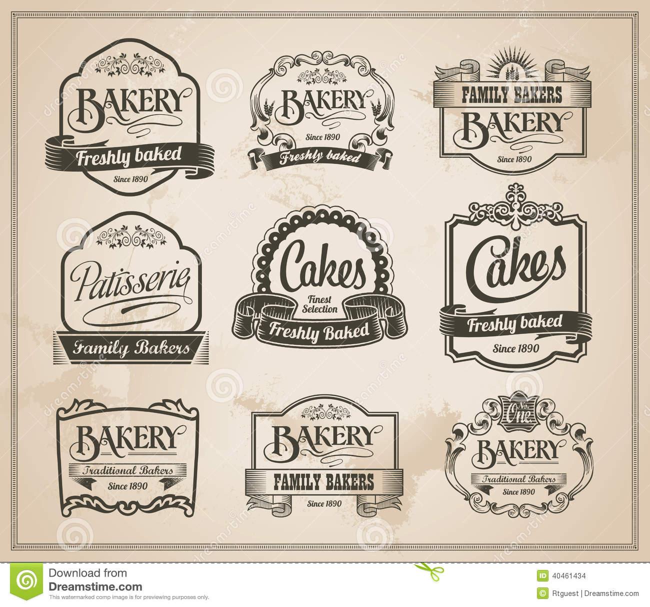Vintage Retro Bakery Label Set Stock Vector - Image: 40461434