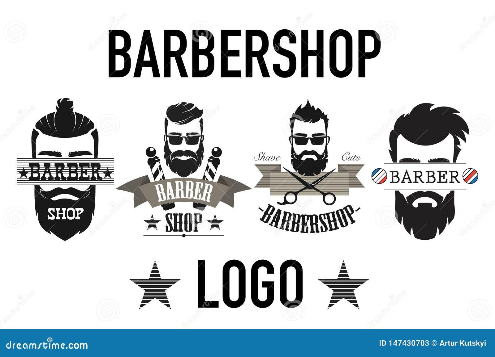 Vintage retro barbershop logo, label, emblem and badgesisolated on white vector illustration.