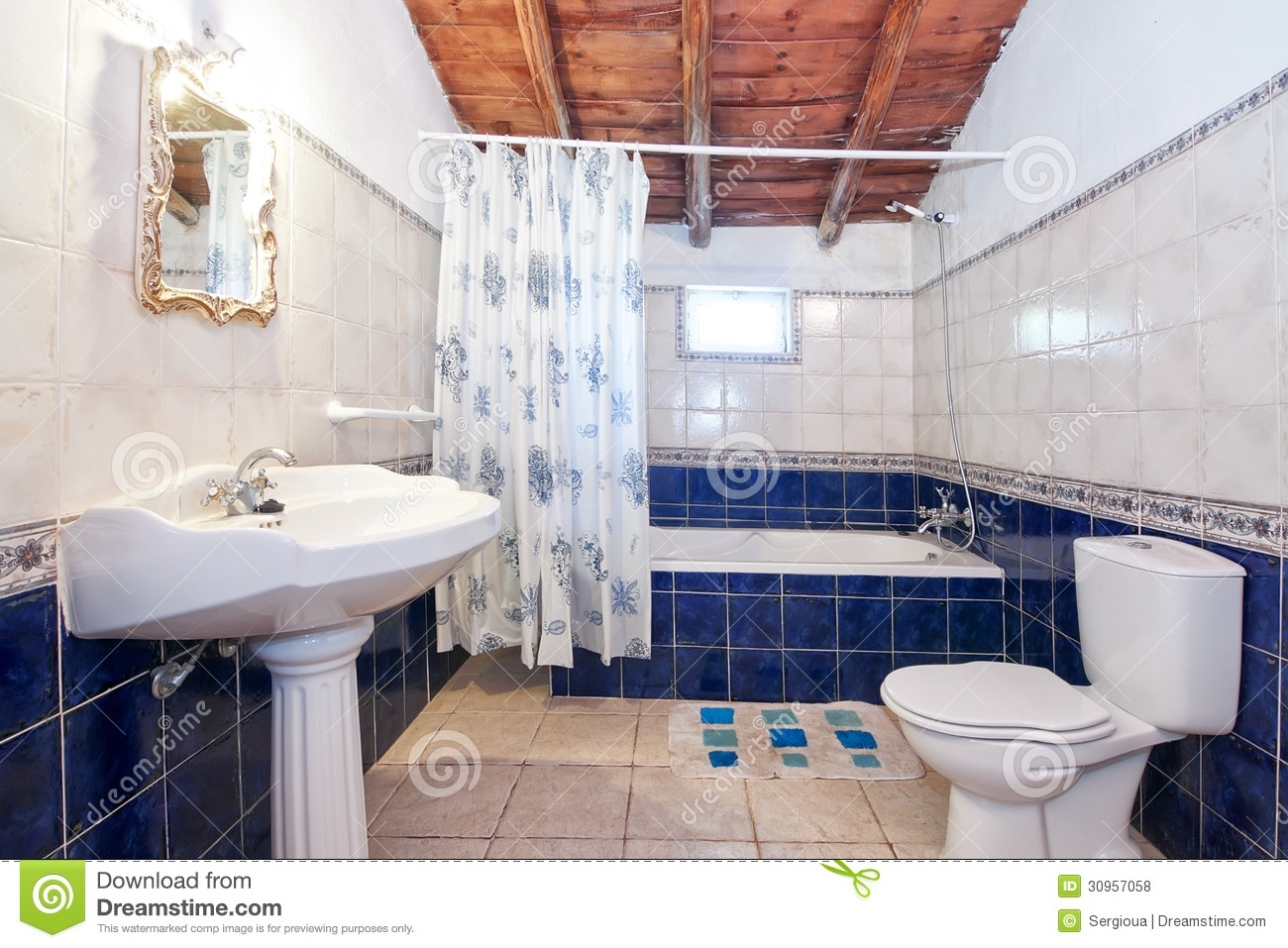 Retro Blue Bathroom Tile Vintage retro bathroom.