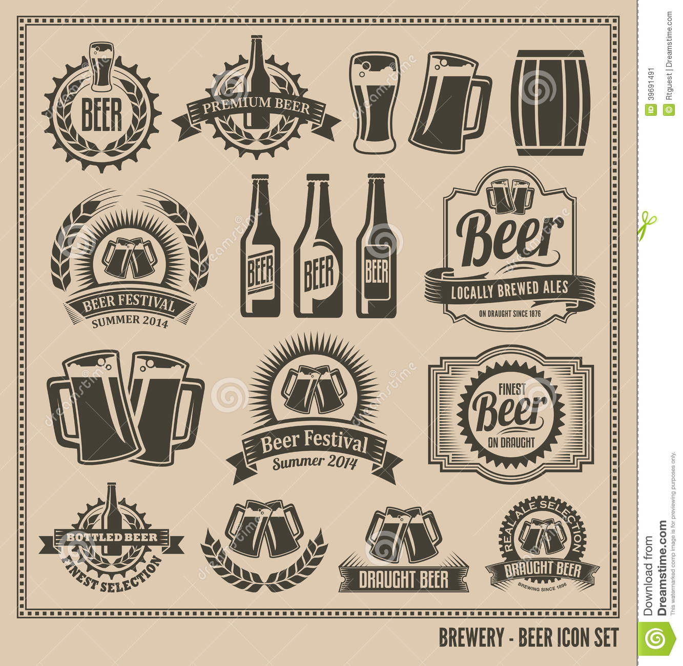Vintage retro beer icon set stock vector illustration of draught vintage retro beer icon set buycottarizona Image collections
