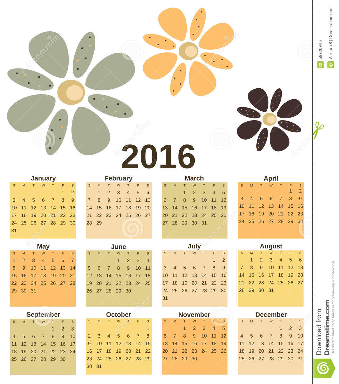 Calendar Vintage Vector : Vintage retro calendar with flowers background