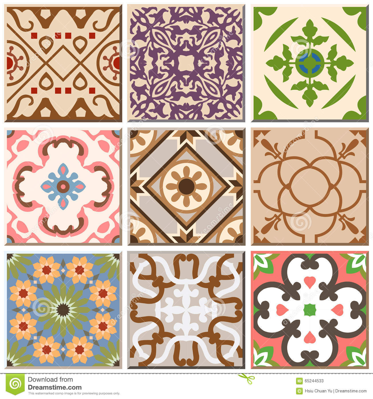 Vintage retro ceramic tile pattern set collection 002 stock vector vintage retro ceramic tile pattern set collection 002 doublecrazyfo Image collections