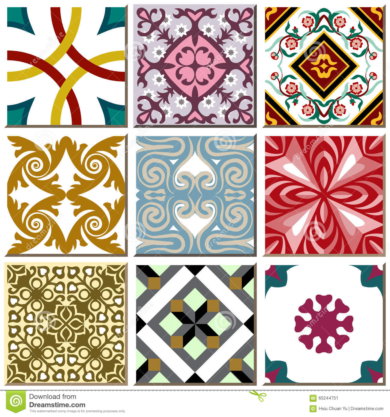 Vintage retro ceramic tile pattern set collection 006 stock vector vintage retro ceramic tile pattern set collection 006 doublecrazyfo Image collections