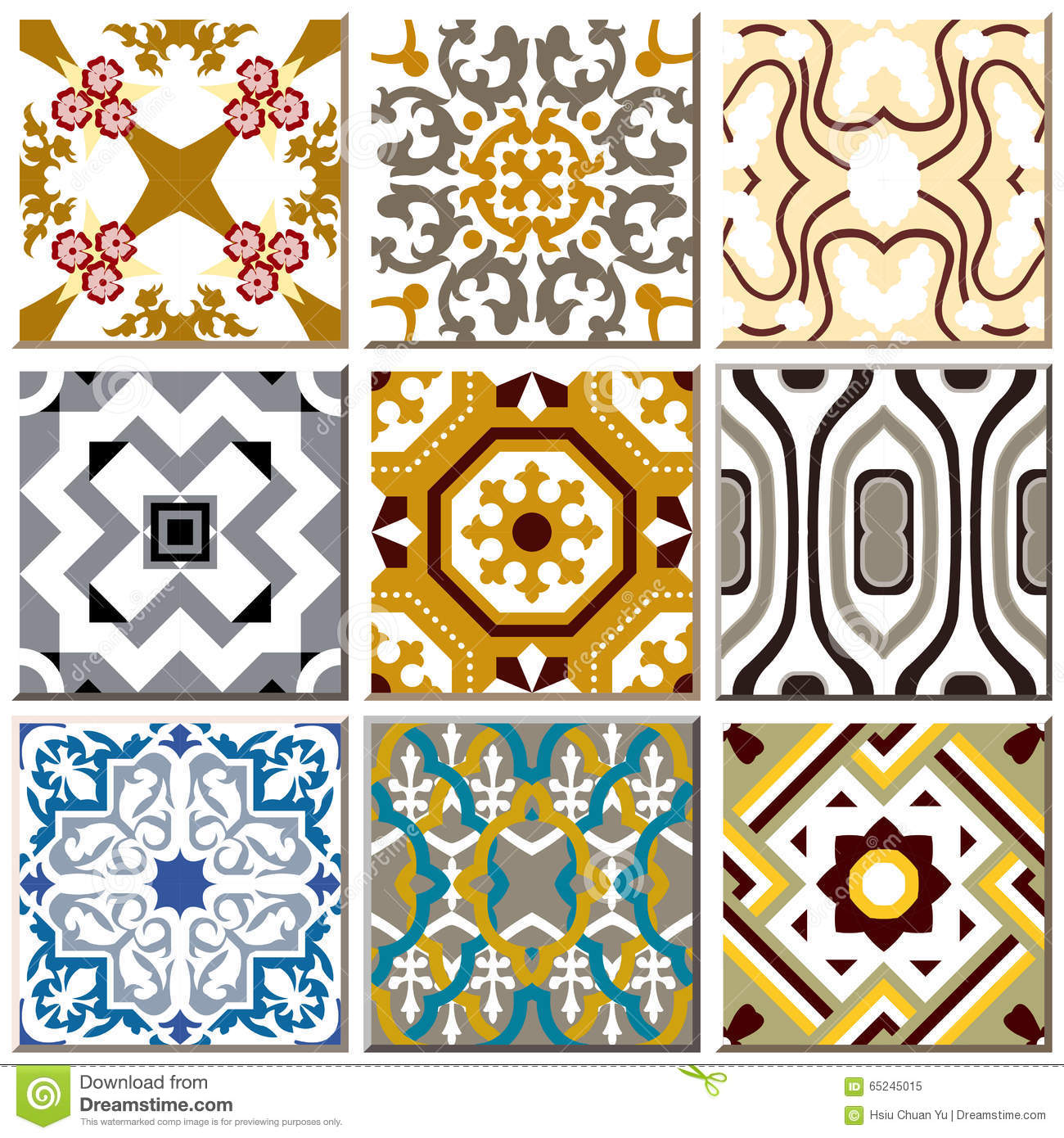 Vintage retro ceramic tile pattern set collection 008 stock vector vintage retro ceramic tile pattern set collection 008 doublecrazyfo Image collections