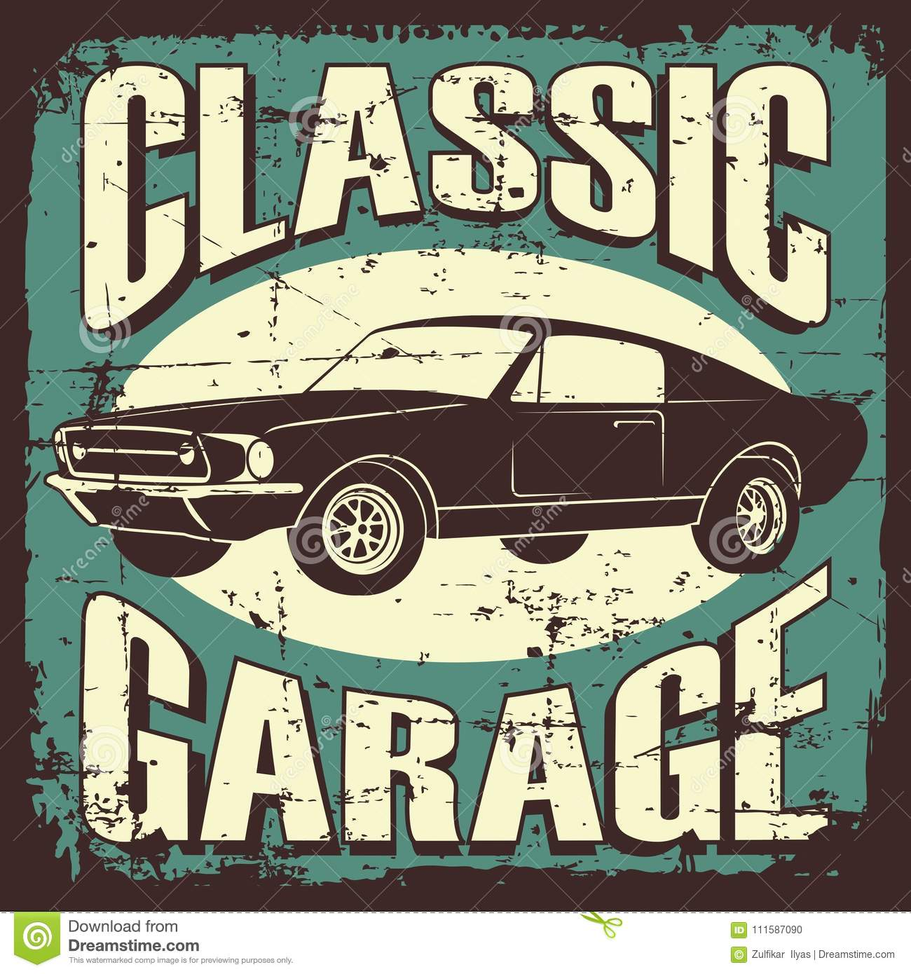 Vintage Retro Classic Car Service Stock Vector - Illustration of ...