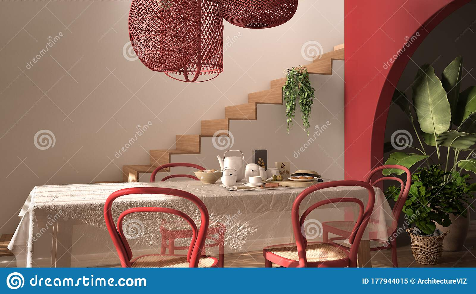 Vintage Retro Dining Room With Wooden Table And Chairs In Red Tones Breakfast Buffet Rattan Pendant Lamps Parquet Floor Stock Illustration Illustration Of Living Lamp 177944015
