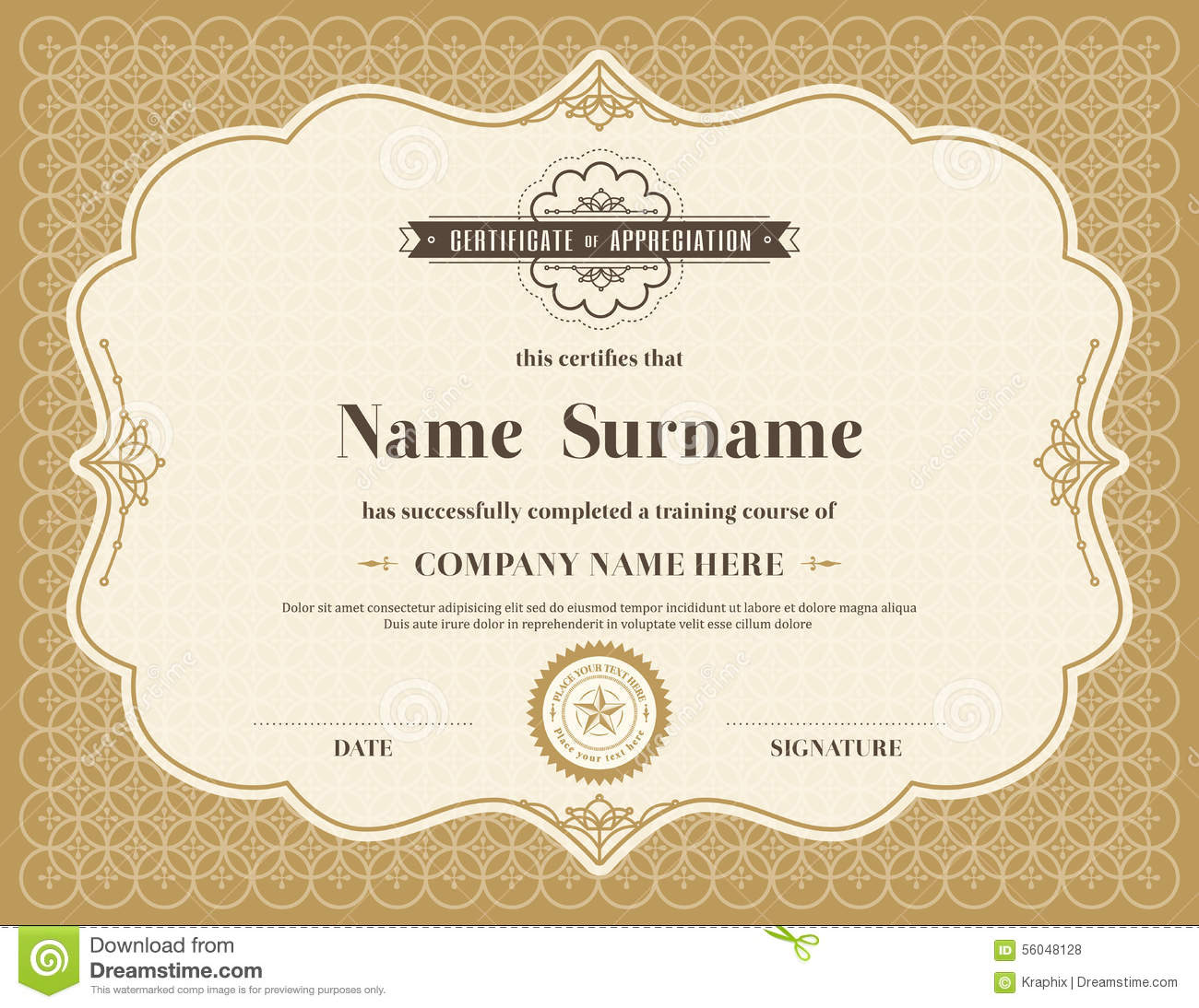 vintage retro frame certificate background template stock