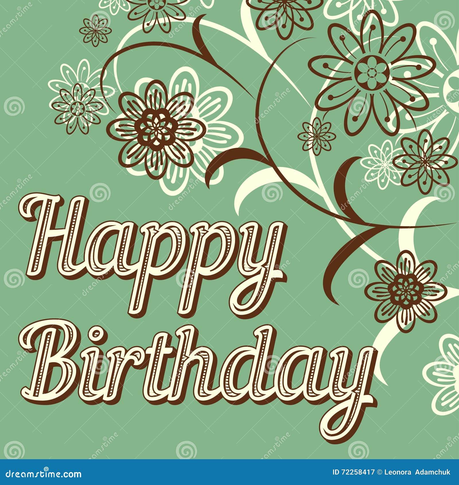 vintage retro happy birthday card, with fonts royalty free stock, Birthday card