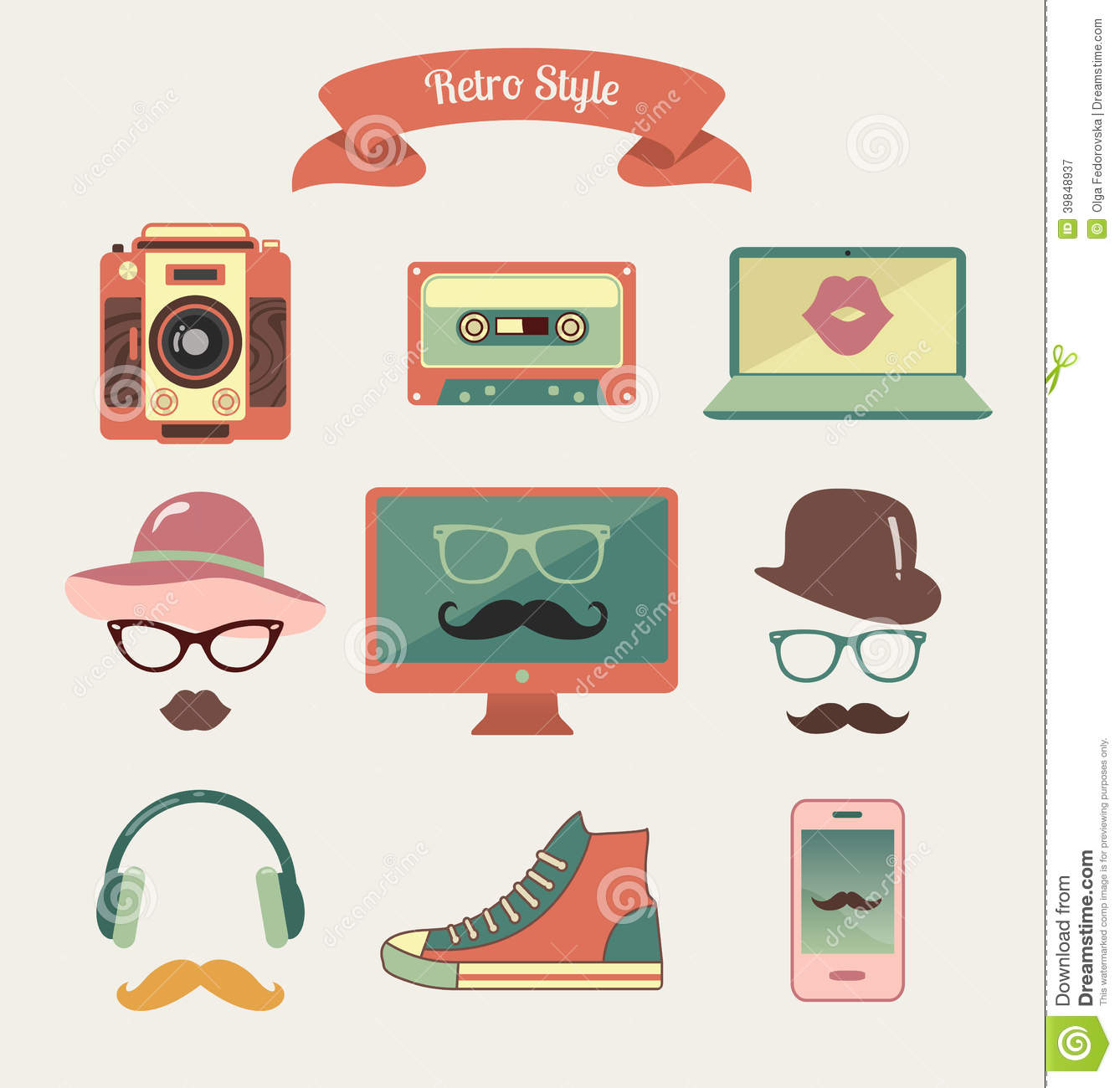 Vintage Retro Hipster Style Media Icons Stock Vector Image 39848937