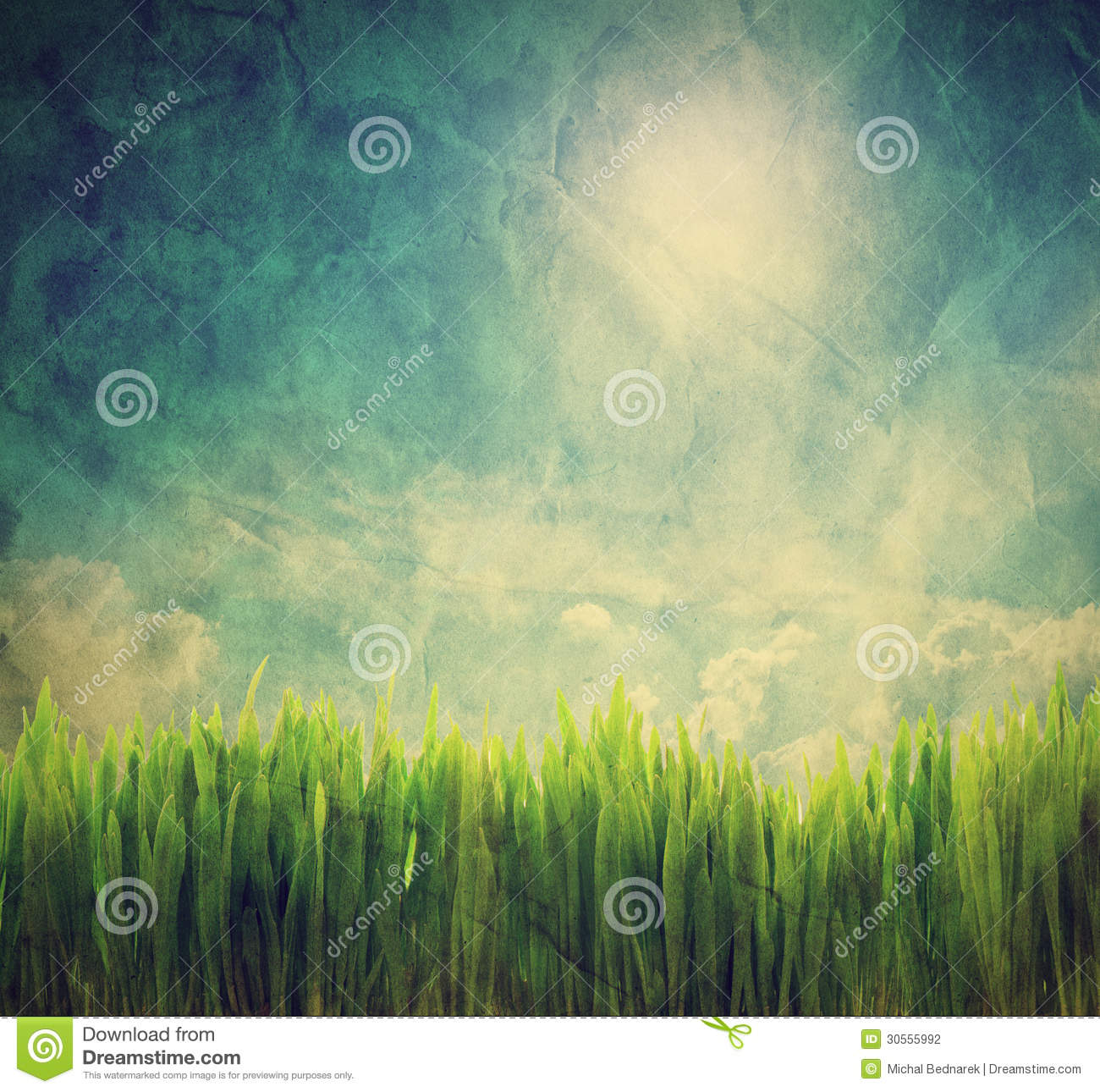 Vintage Photo Of Grass: Vintage, Retro Image Of Nature Landscape Stock Photo