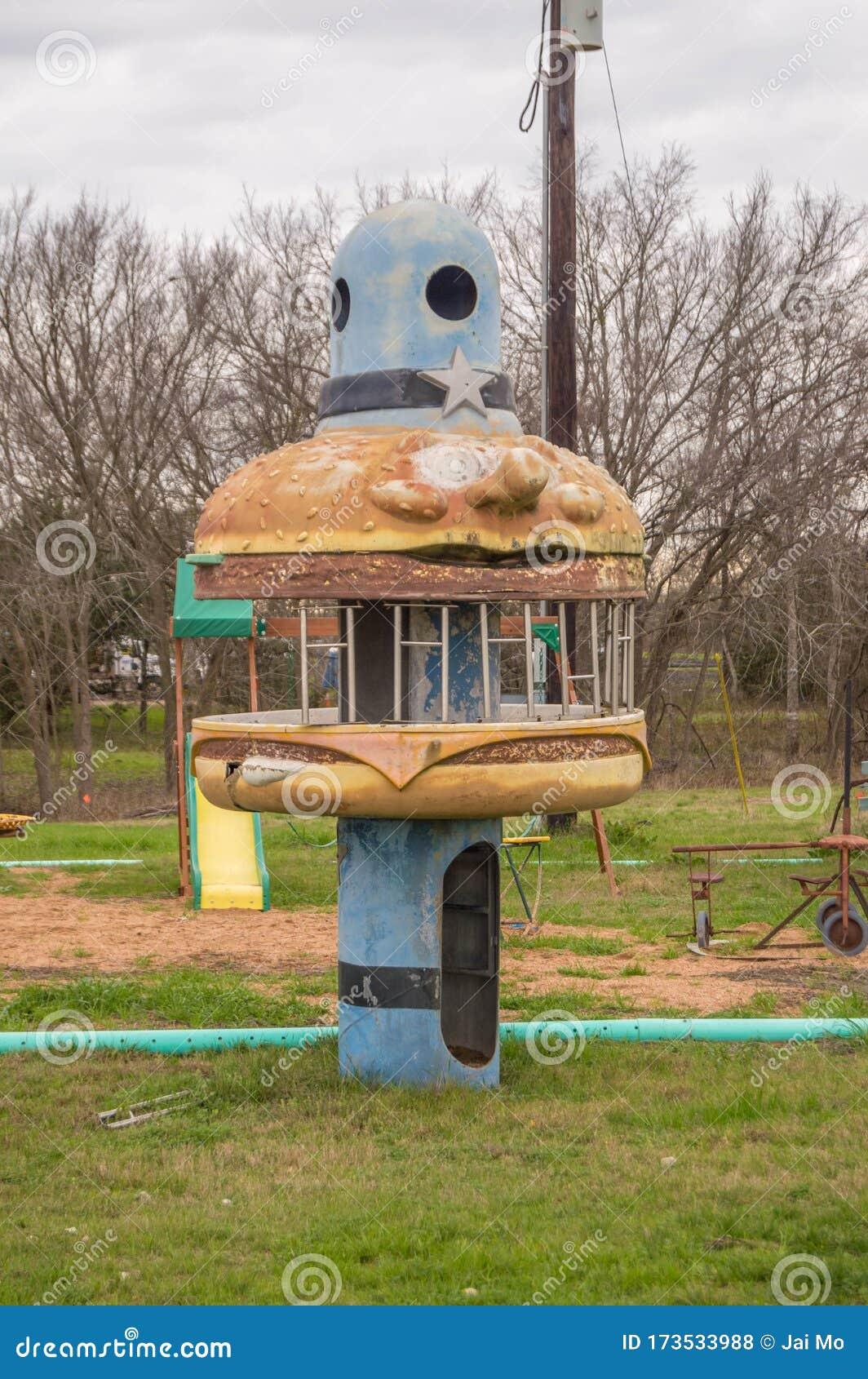 Vintage Retro Kids Playground Hamburger Stock Photo Image Of Shape Equipment 173533988