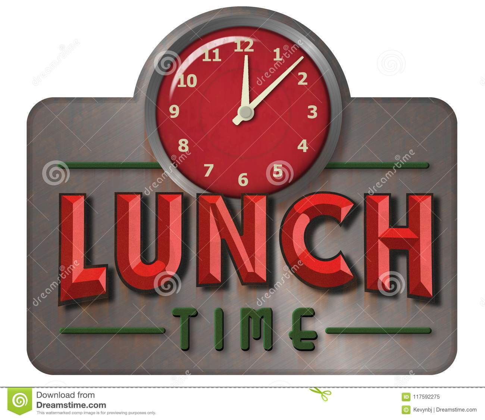 lunch sign clock noon retro