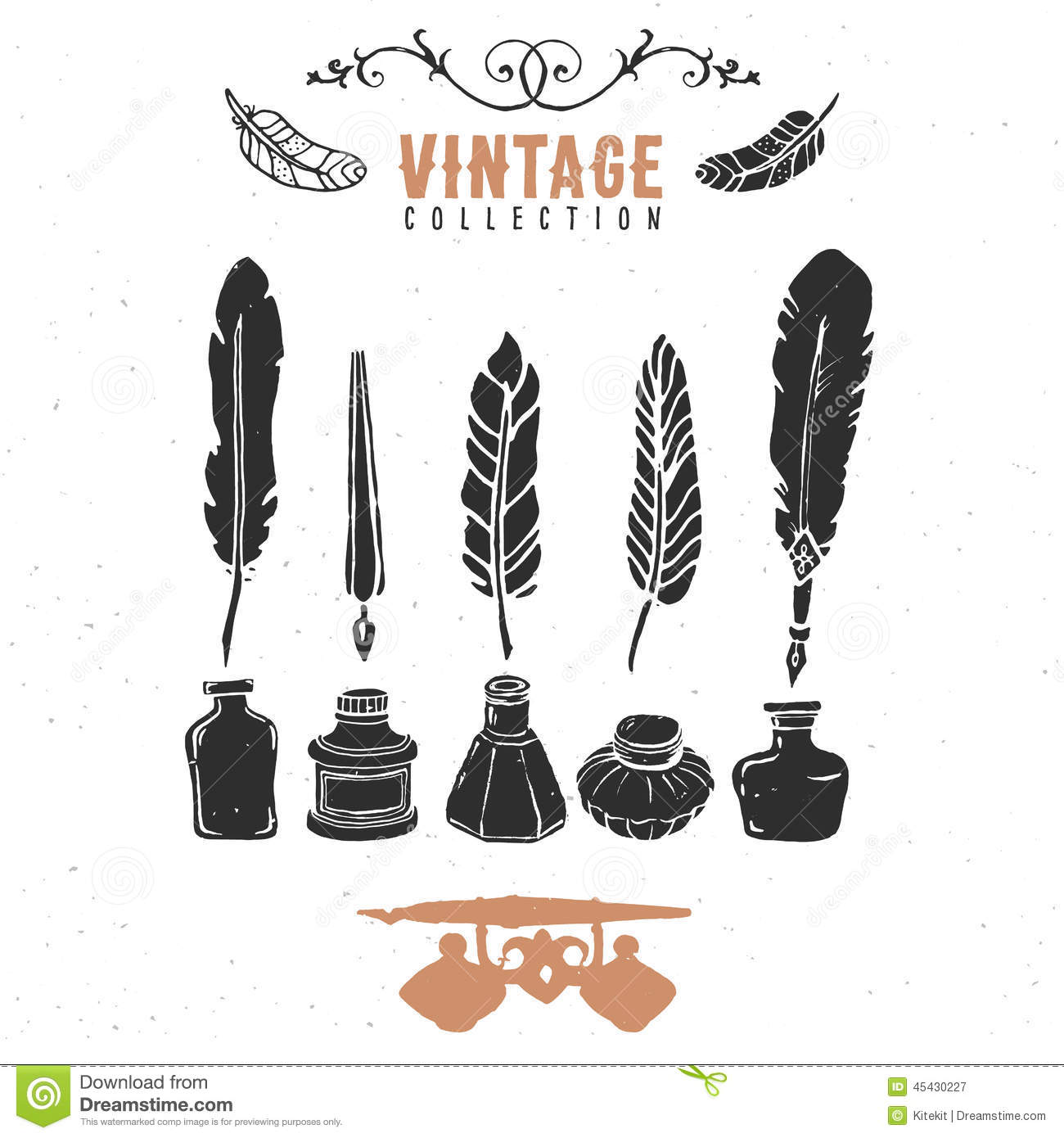 Classic Retro Illustration: Vintage Retro Old Nib Pen Feather Ink Collection. Stock