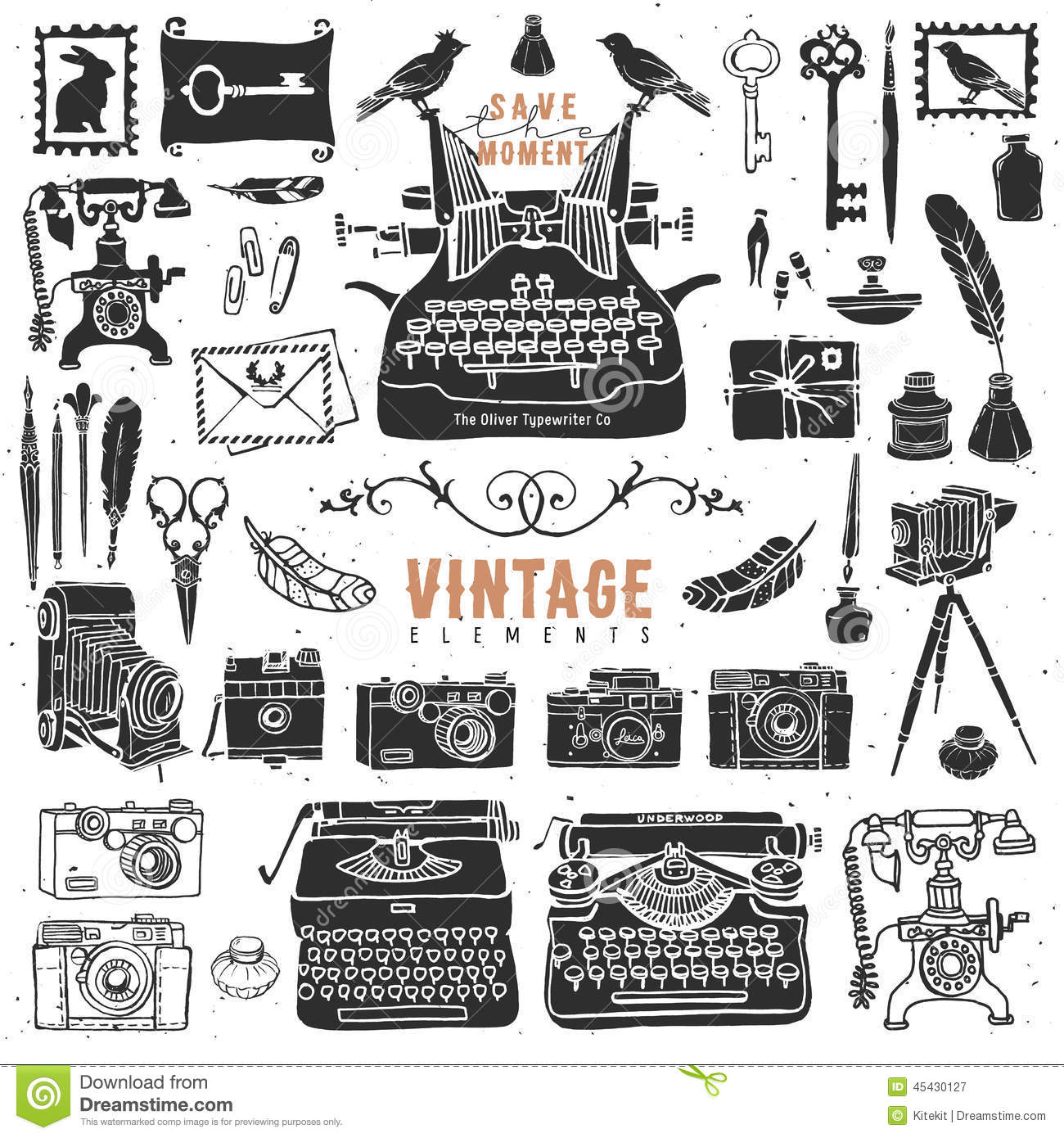 Classic Retro Illustration: Vintage Retro Old Things Collection. Stock Vector