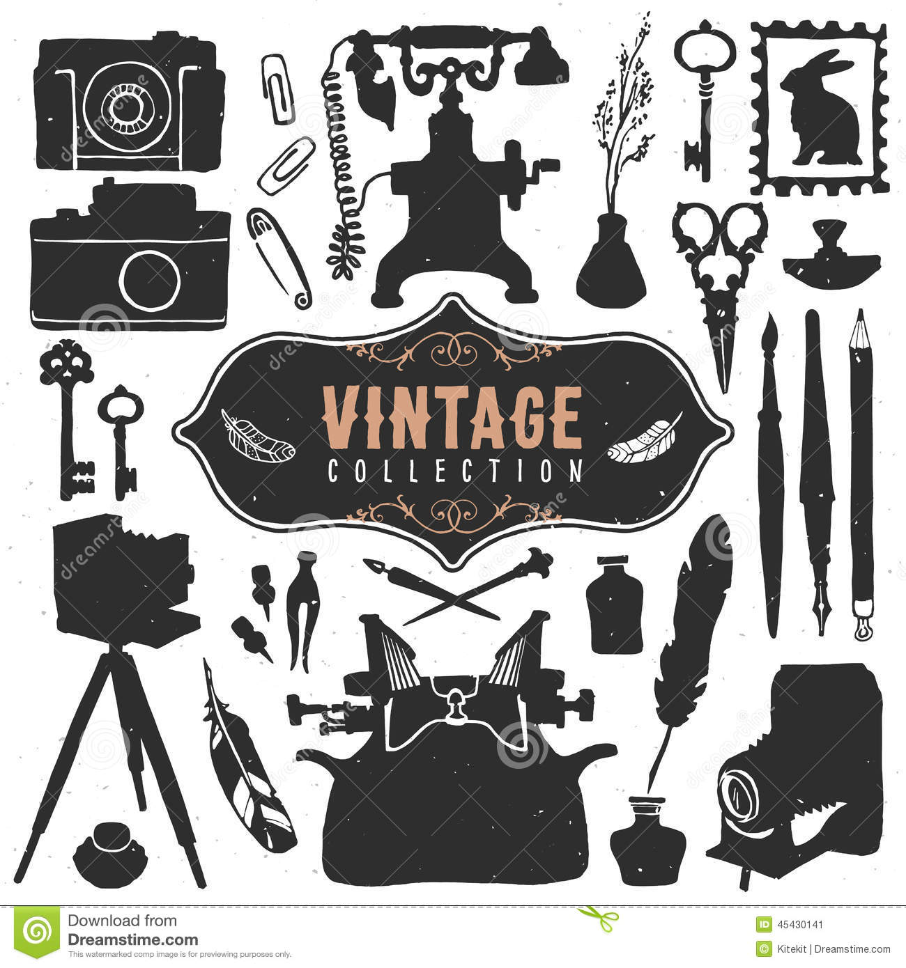 Classic Retro Illustration: Vintage Retro Old Things Collection. Hand Drawn Vector
