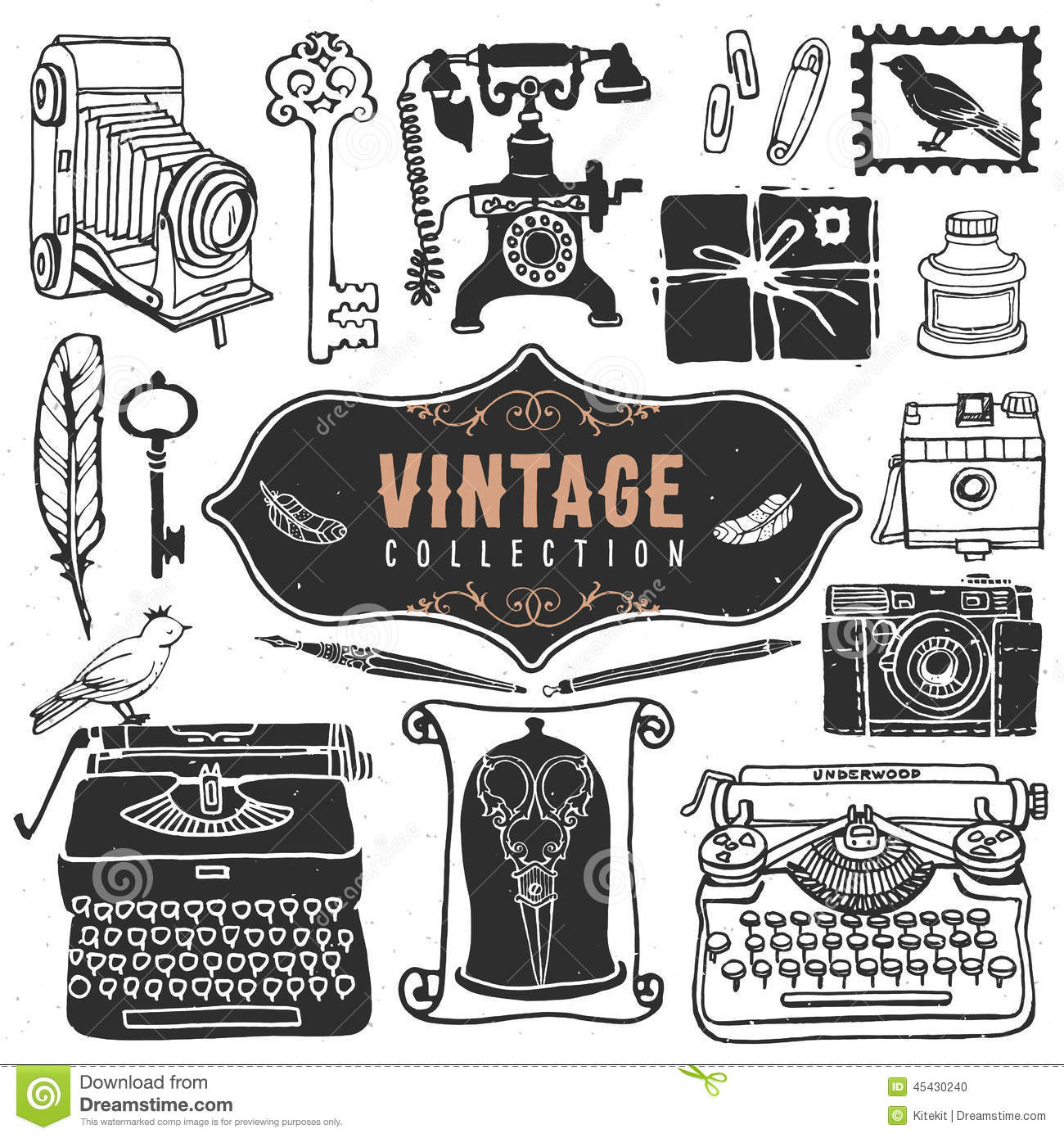 Vintage retro old things collection stock vector image - Retro vintage ...