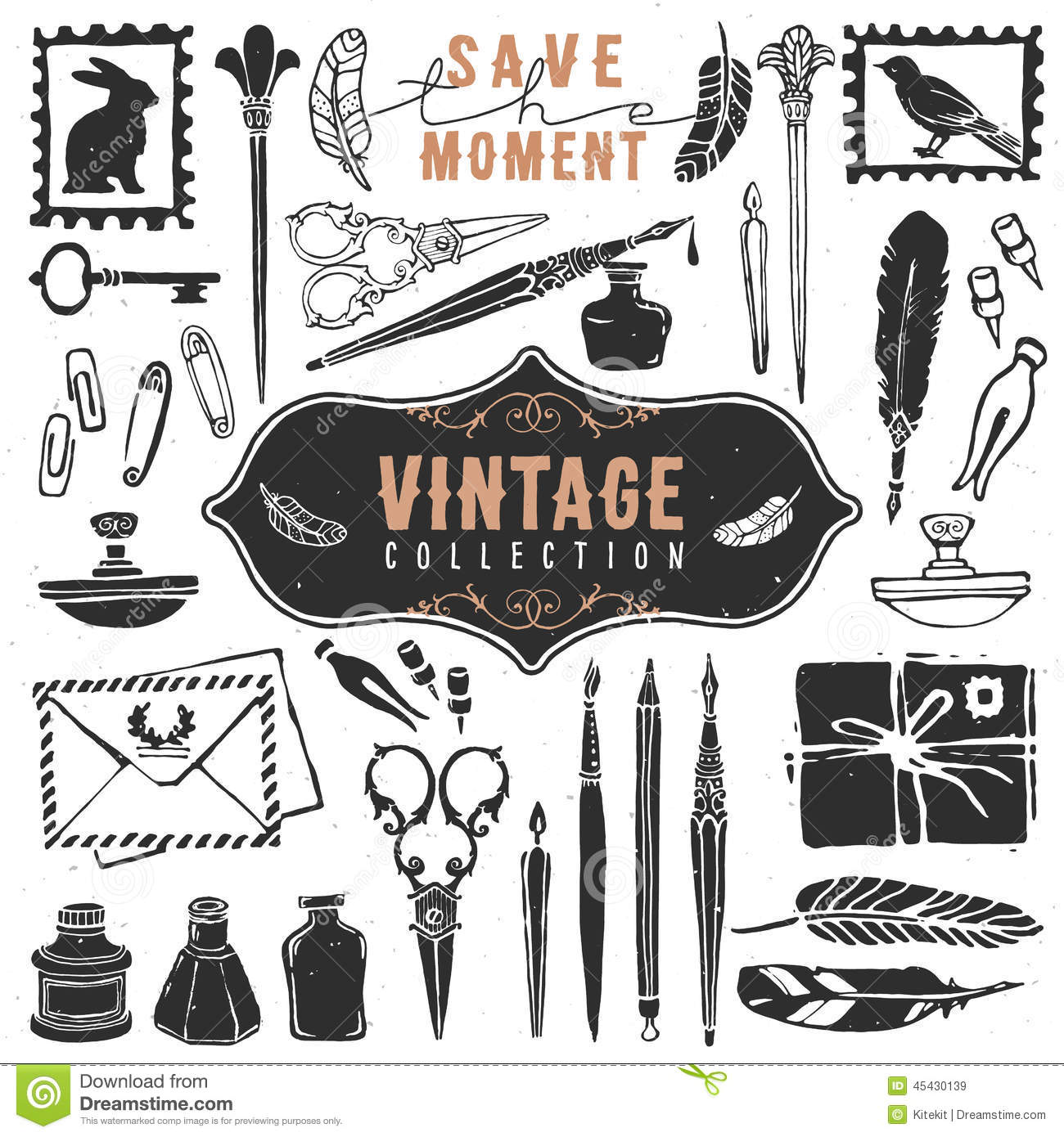 Classic Retro Illustration: Vintage Retro Old Things Writer Crafted Collection. Stock