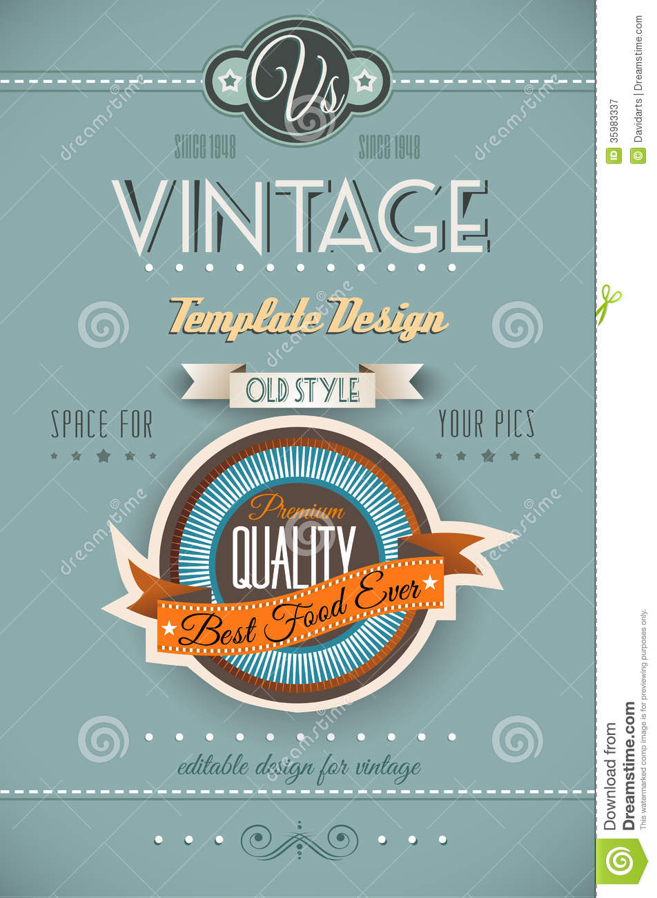 Vintage Retro Page Template For A Variety Of Purposes Royalty Free – Retro Flyer Templates
