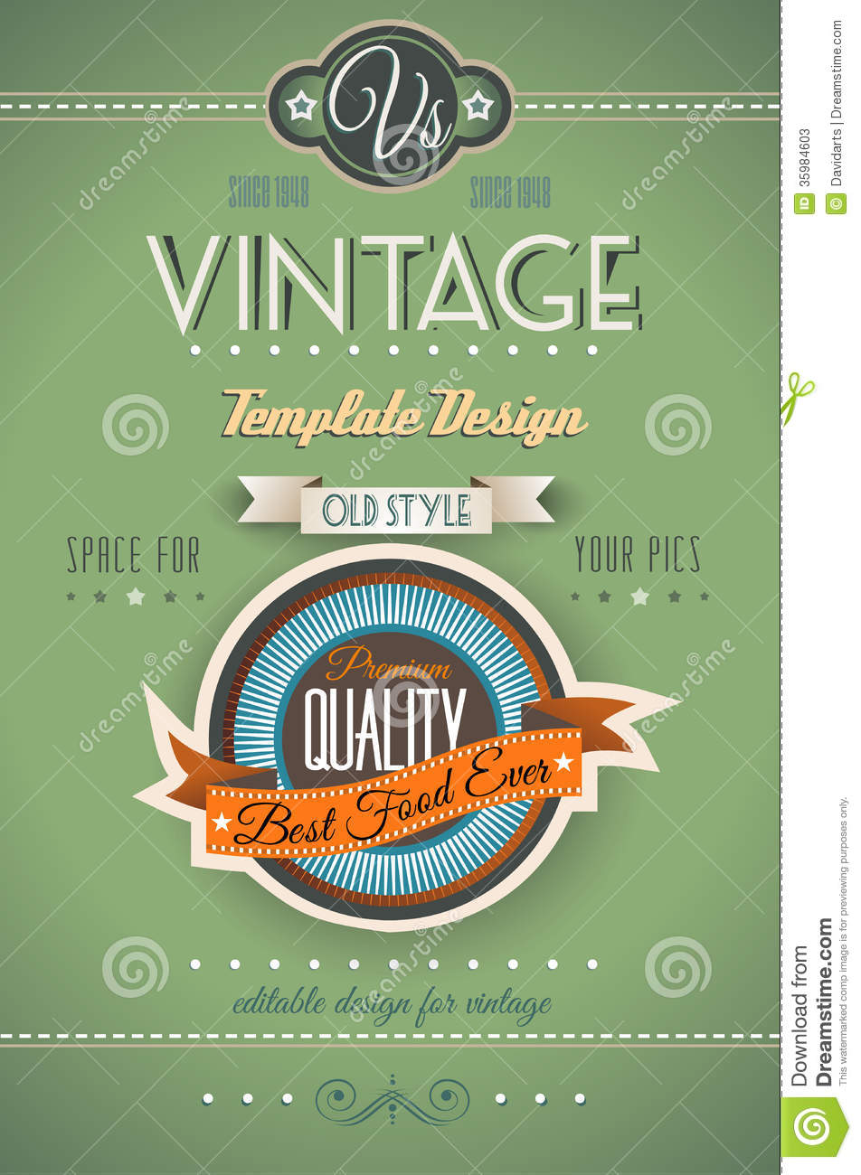 Book Cover Art Styles : Vintage retro page template for a variety of purposes