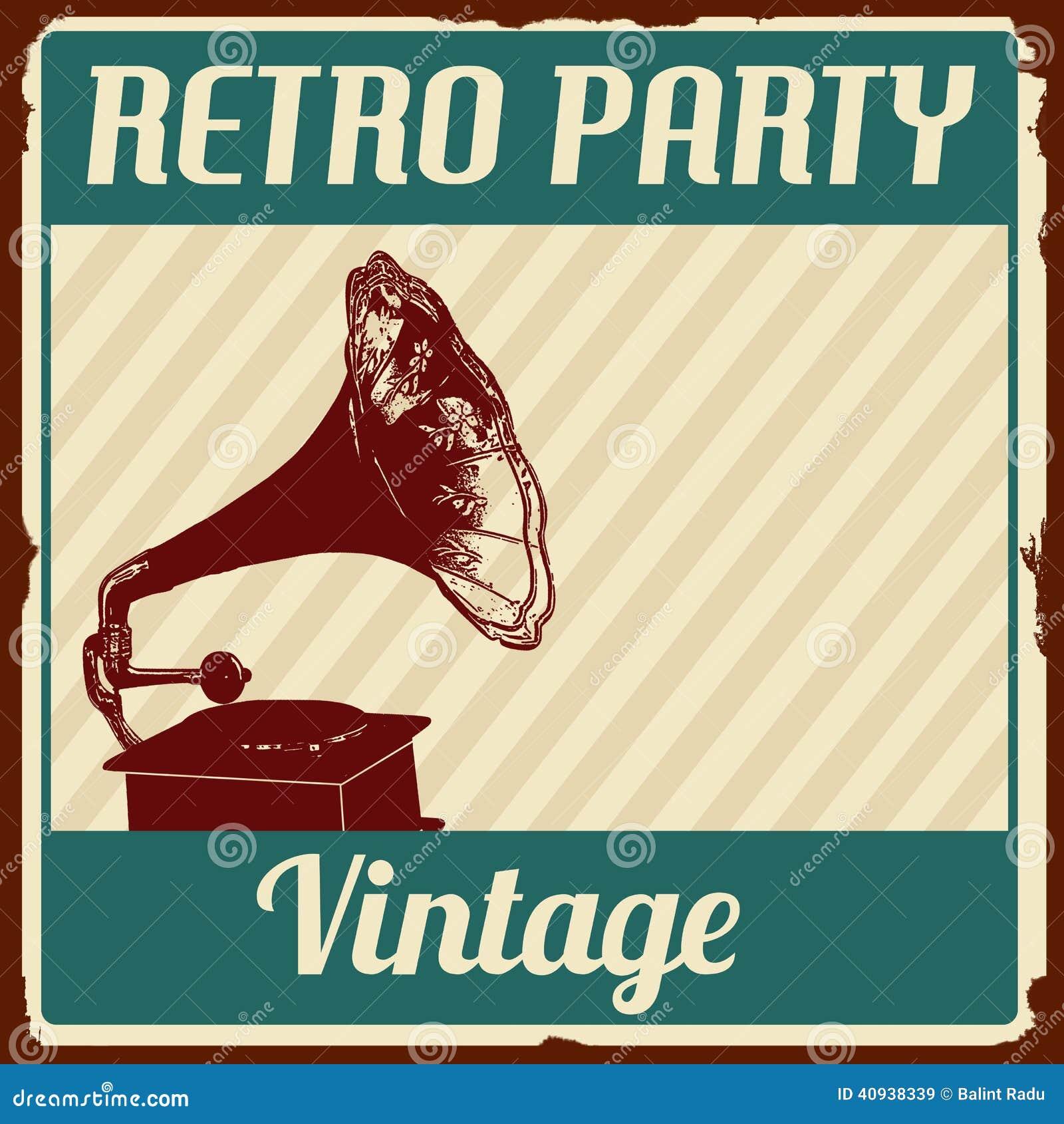 Vintage retro party poster stock vector illustration of for Vintage stuhle gunstig