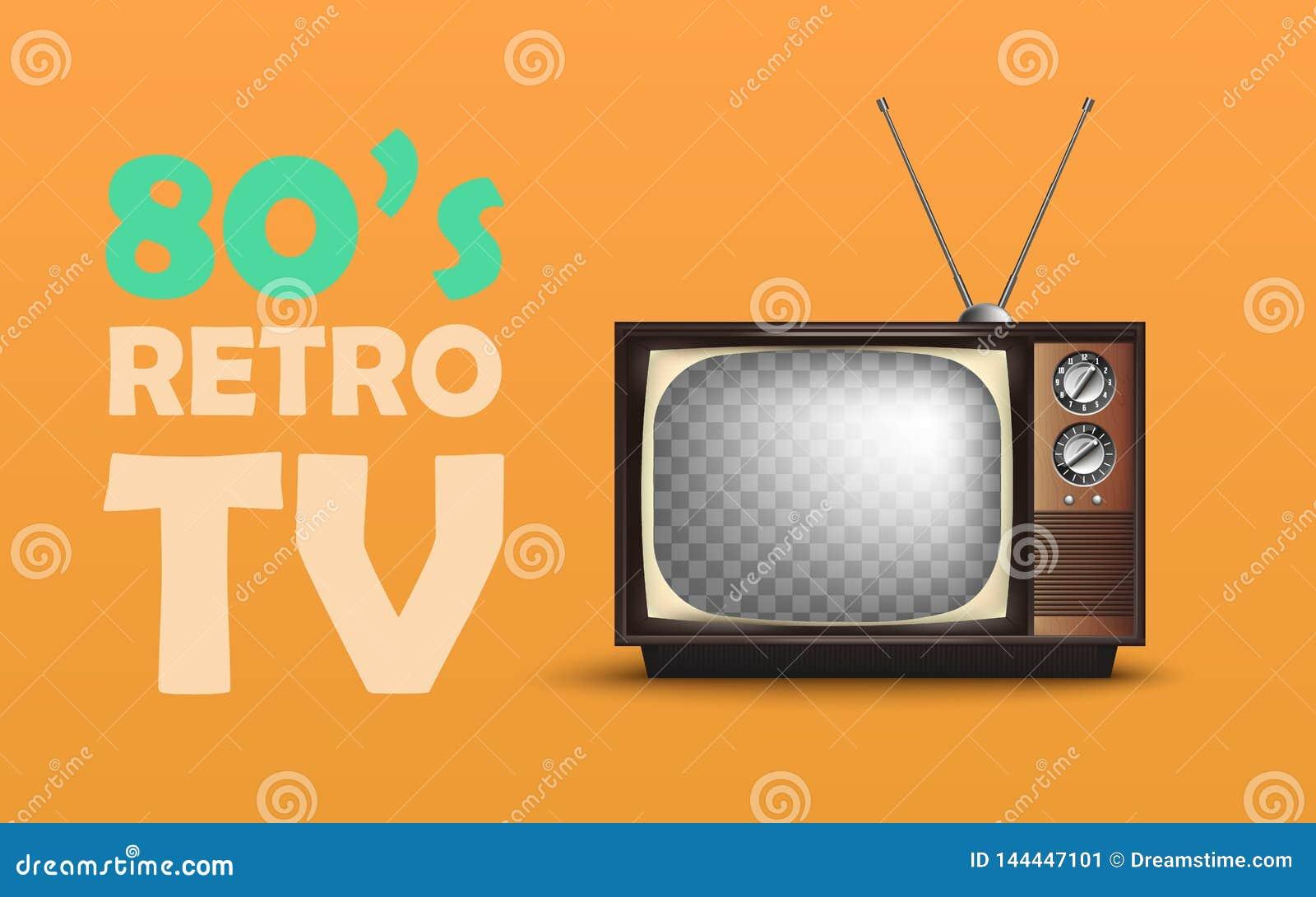 Vintage retro realista TV Con el texto Vector