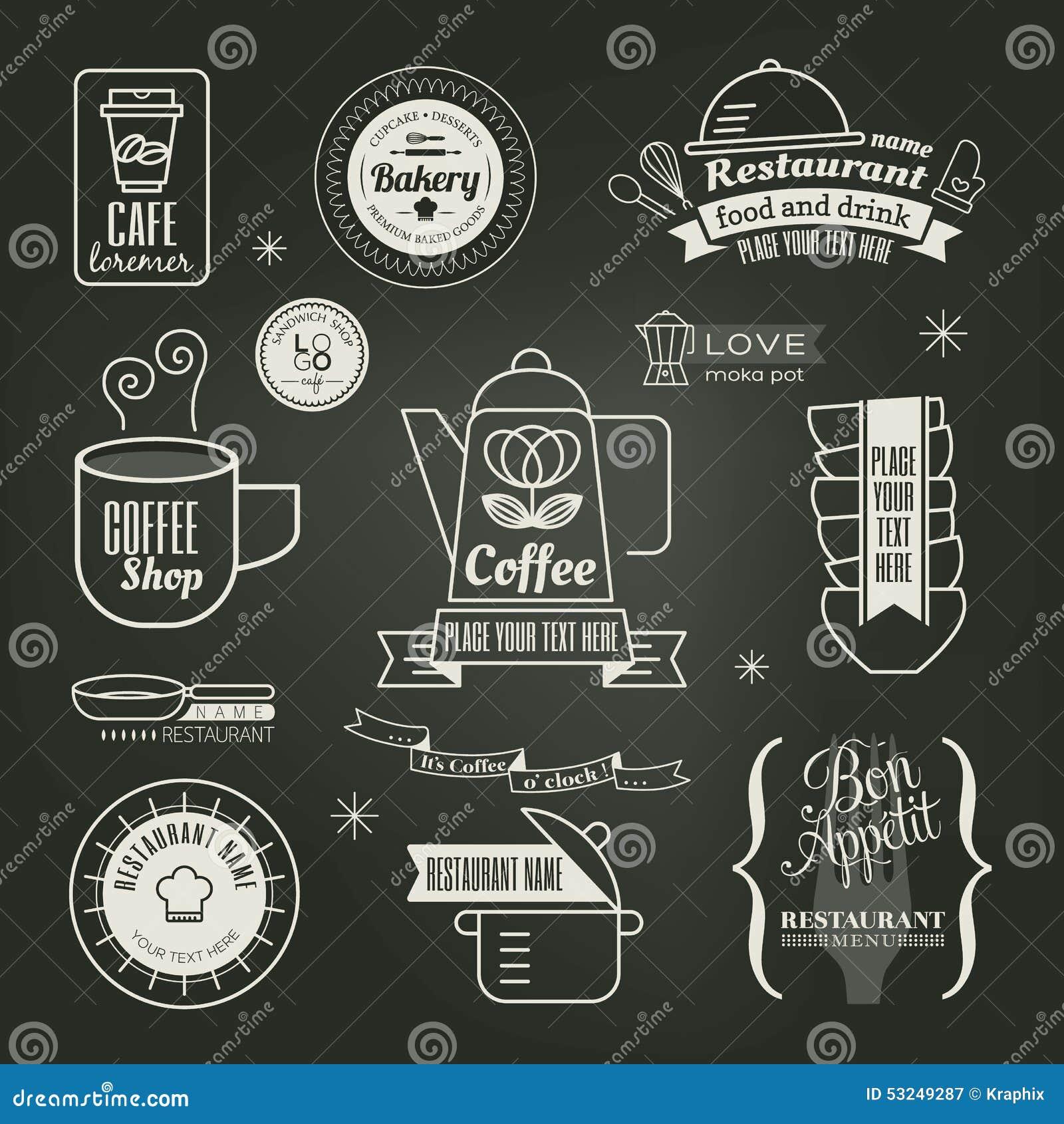 Vintage Retro Restaurant Cafe Logo Design Stock Vector - Image ...