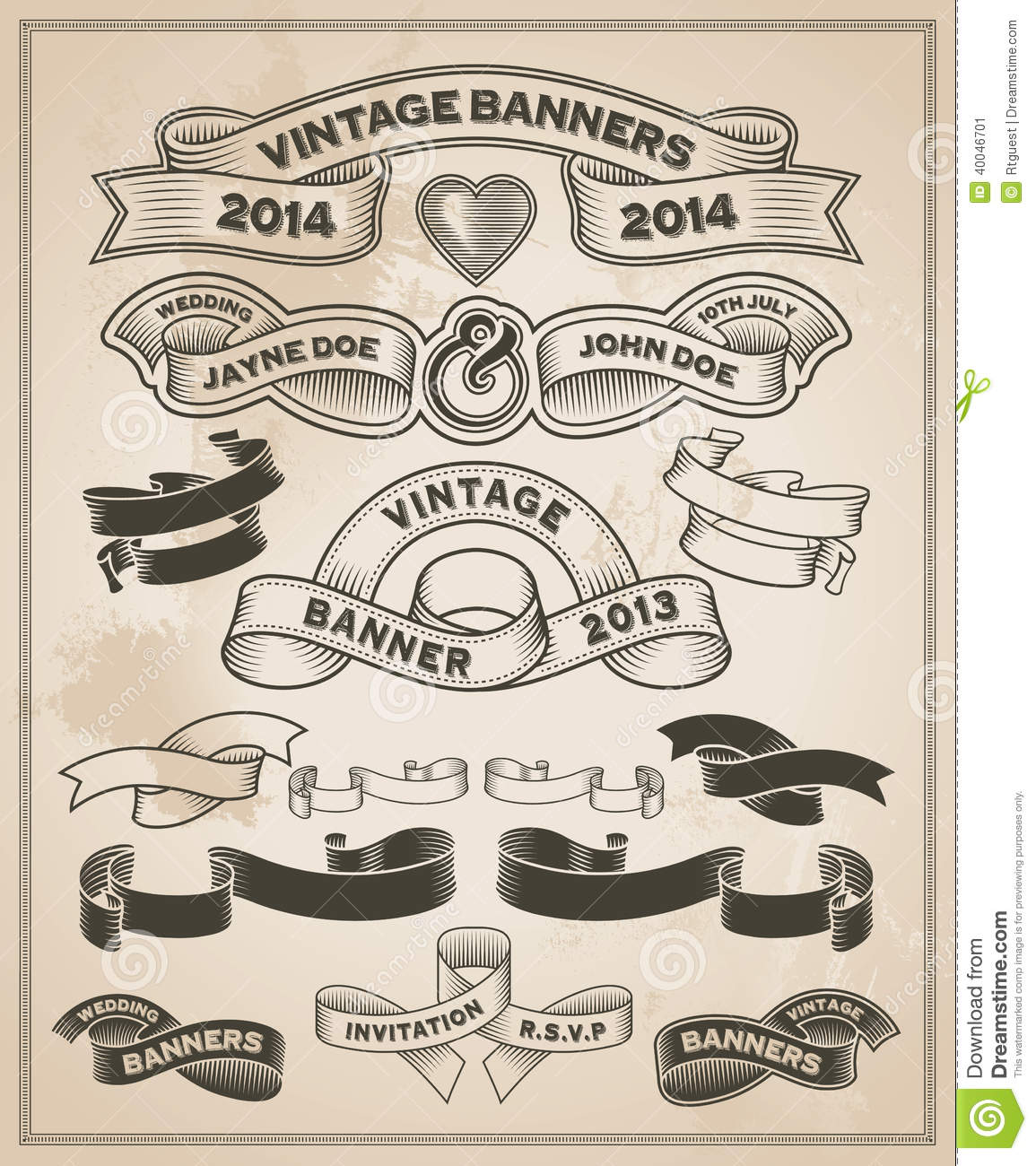 Vintage retro scroll and banner set stock vector image - Retro vintage ...