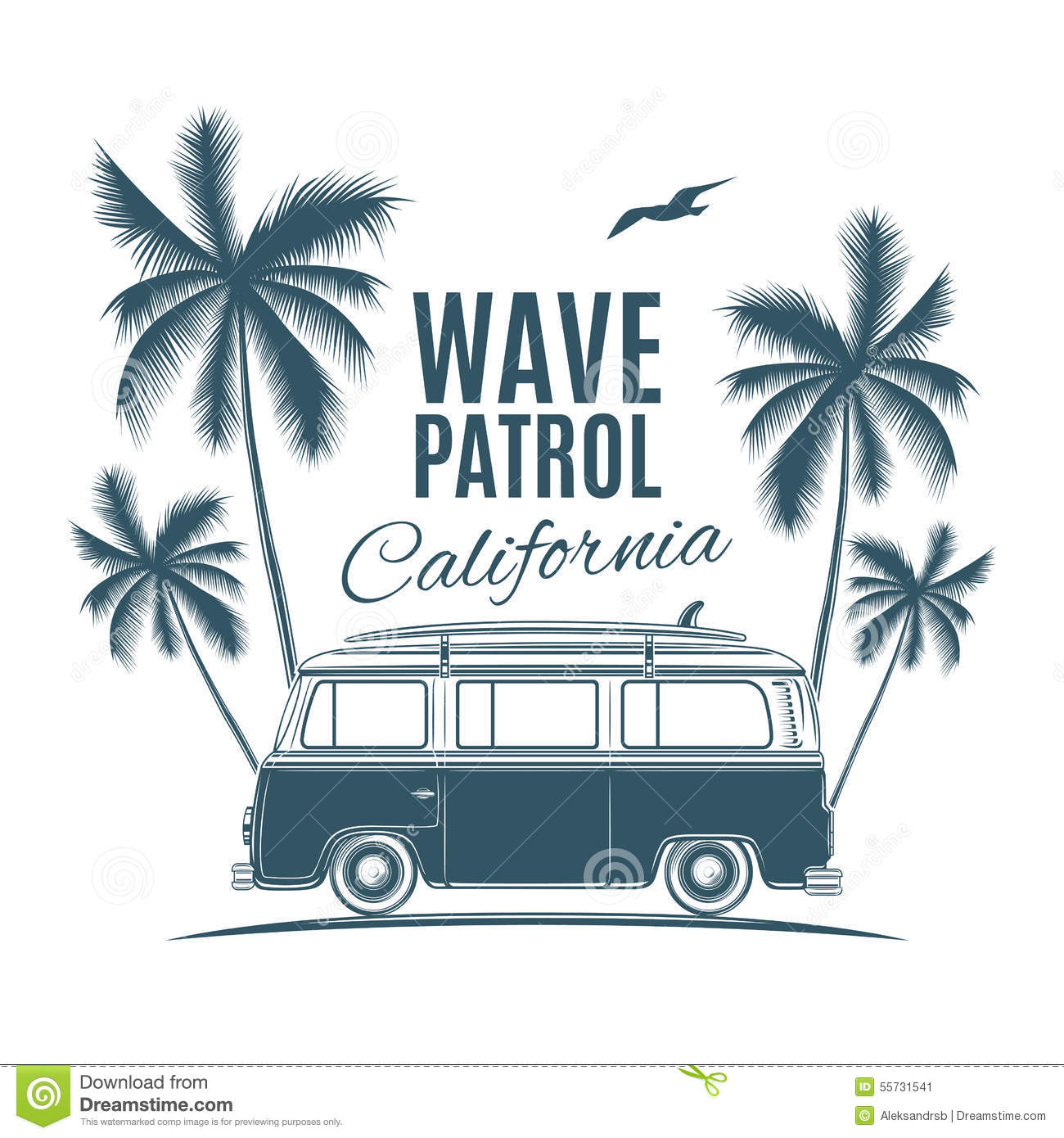 Classic Retro Illustration: Vintage, Retro Surf Van With Palms And A Gull Stock Vector