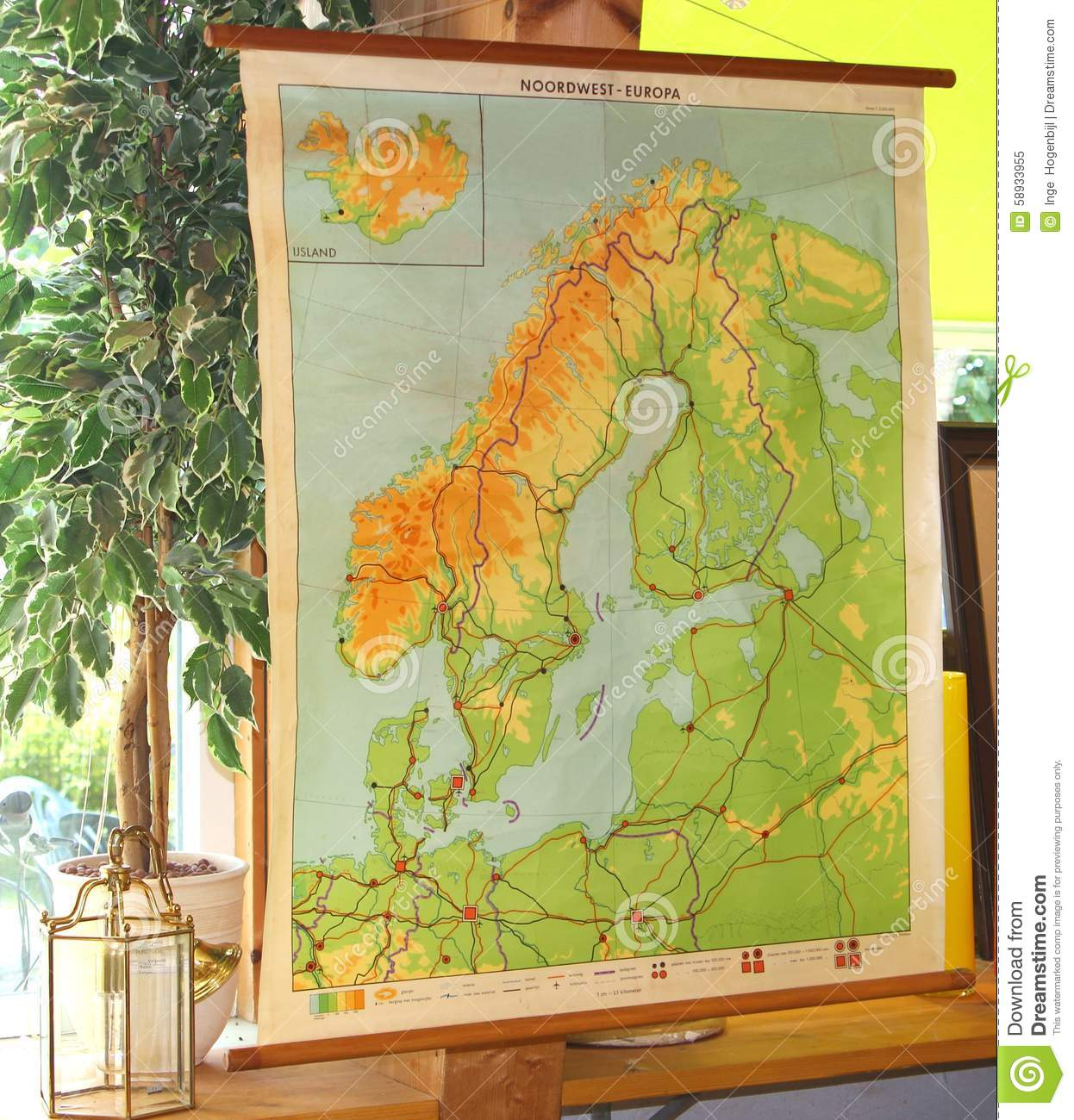 Vintage And Retro Topographic Map Of Northwest Europe Stock Image ...