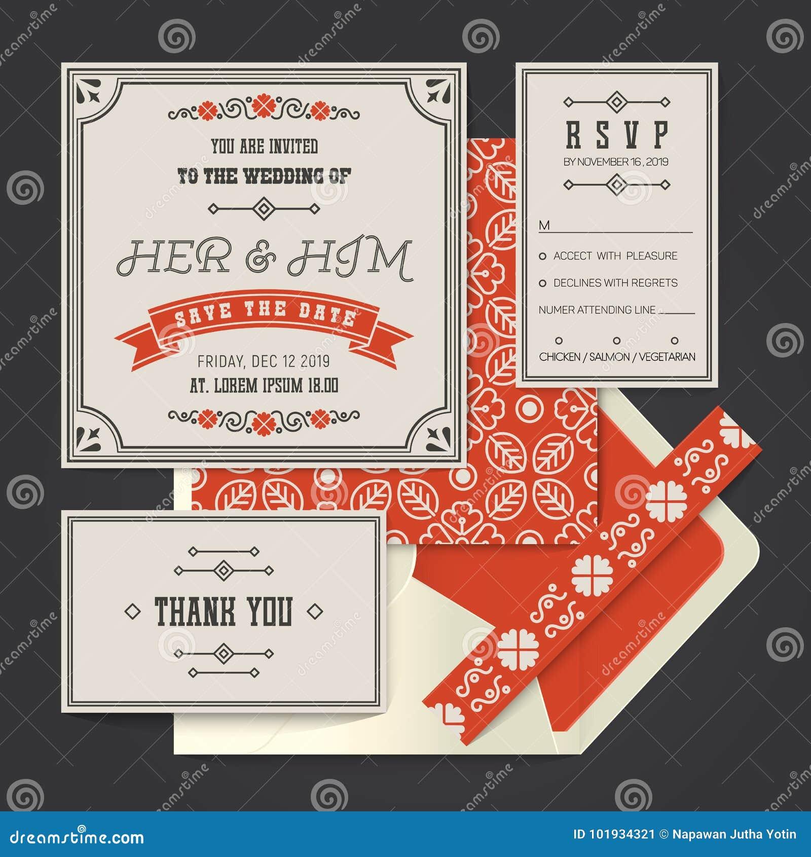 Vintage Retro Vector Wedding Invitation Card Template Stock Vector ...