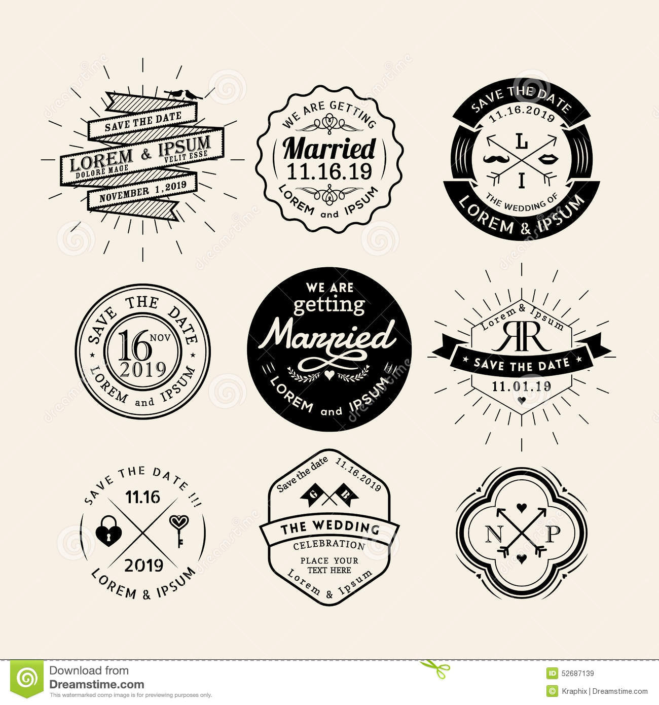 Vintage Retro Wedding Logo Frame Badge Design Element Stock Vector