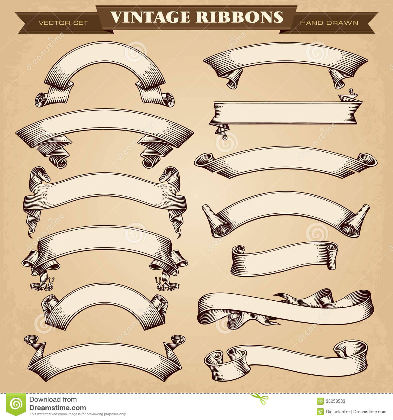 Vintage Ribbon Banners Vector Collection Stock Photos ...
